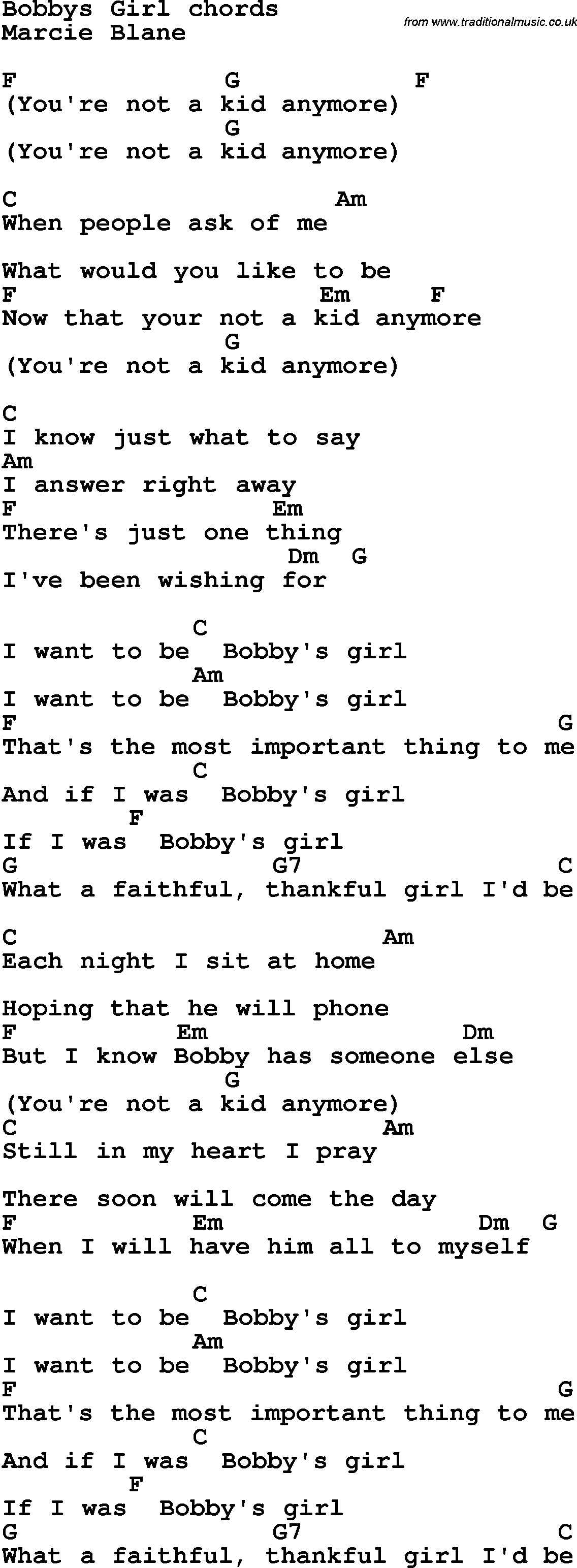 Lovely guitar chords for picture by kid rock edinburghensemble song lyrics with guitar chords for bobby s girl hexwebz Images