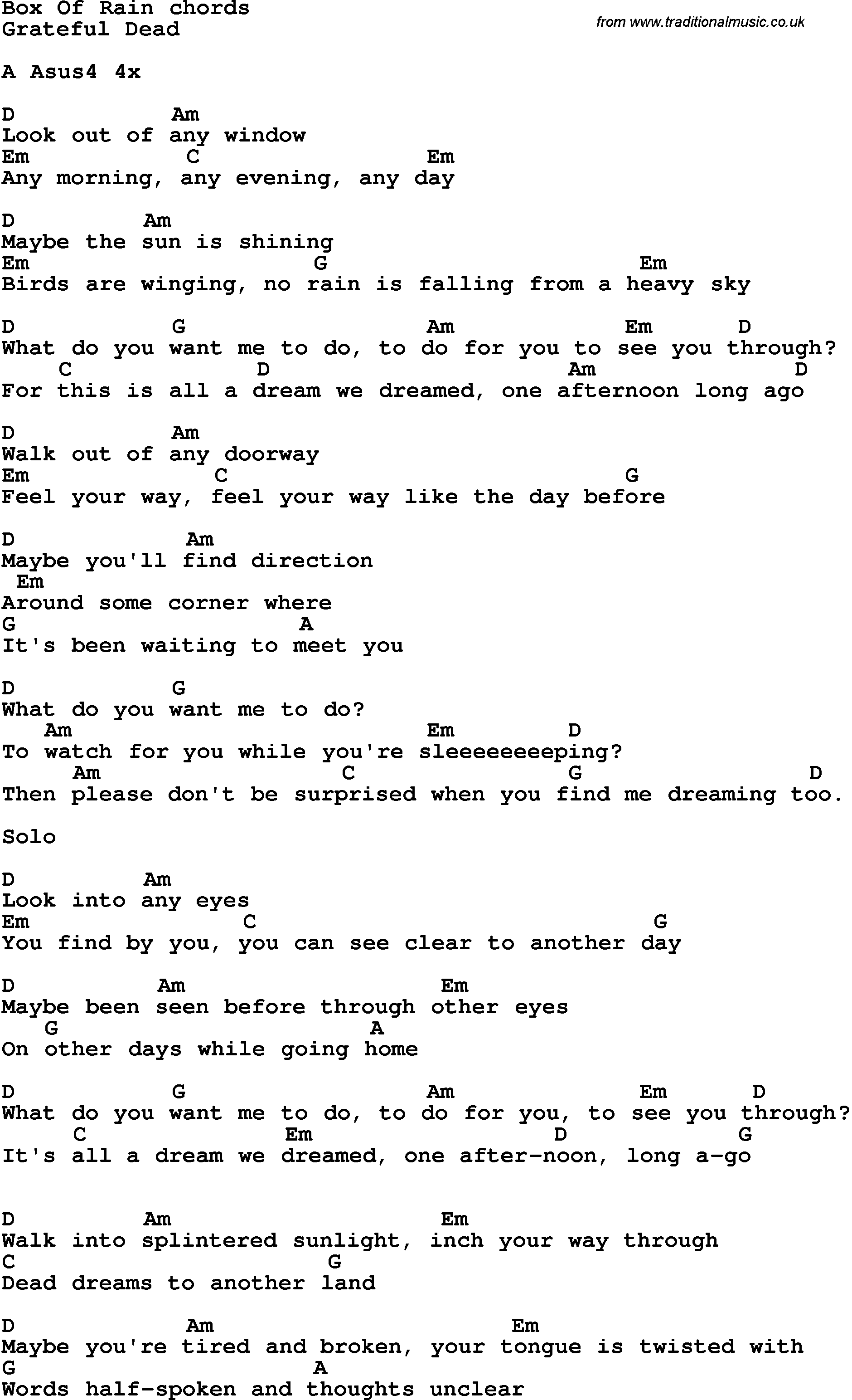 Song Lyrics With Guitar Chords For Box Of Rain