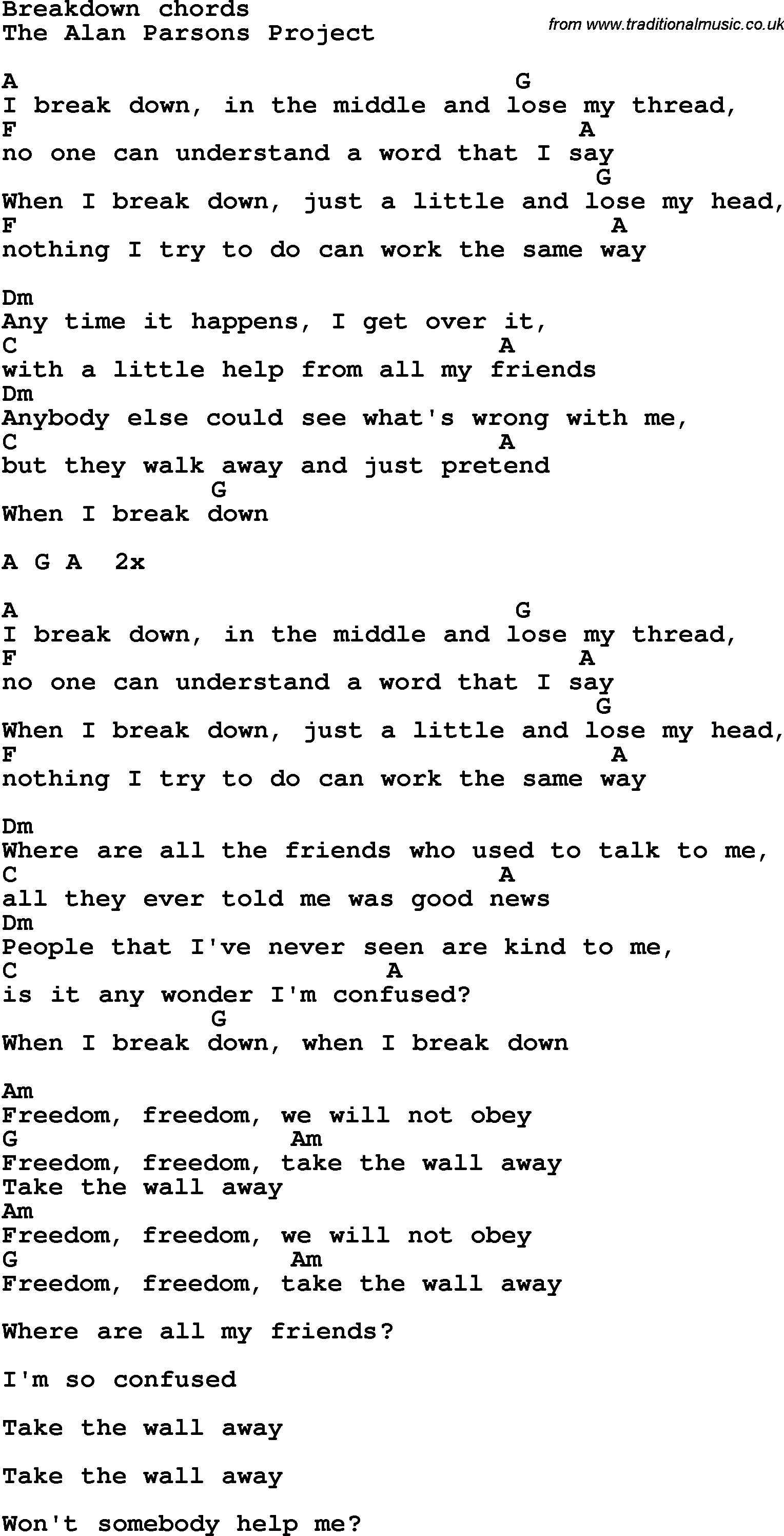 Song Lyrics With Guitar Chords For Breakdown