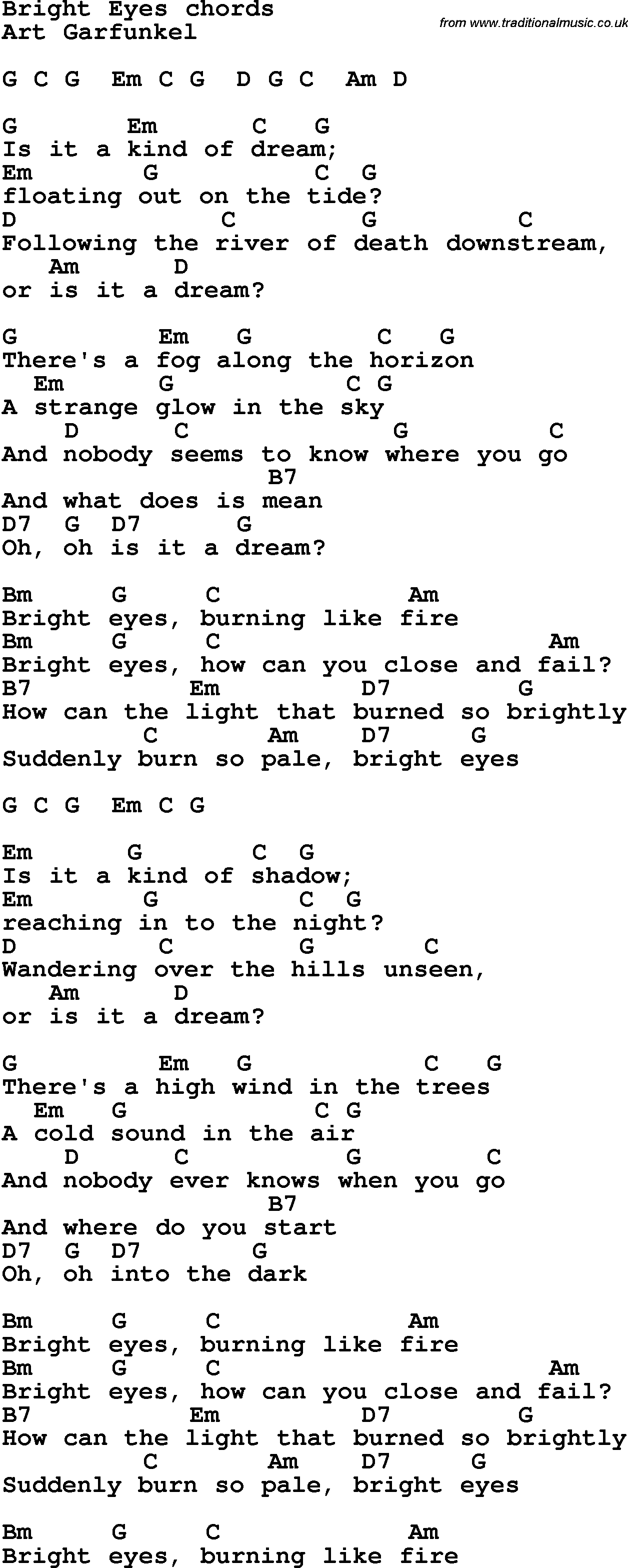 Song Lyrics With Guitar Chords For Bright Eyes