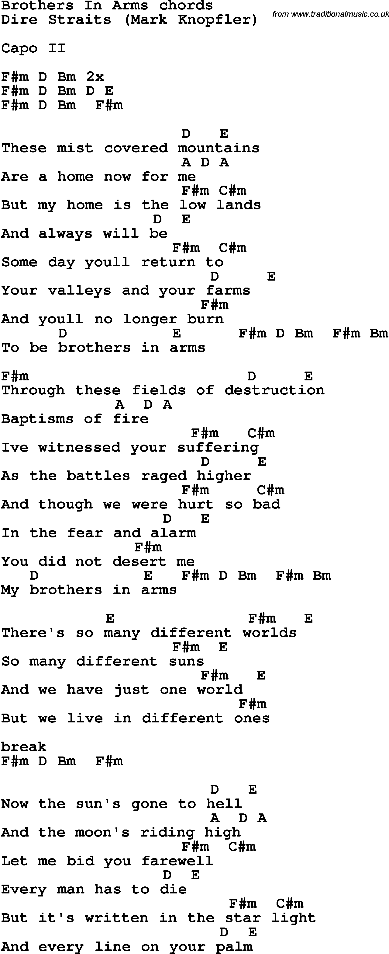 Song Lyrics With Guitar Chords For Brothers In Arms