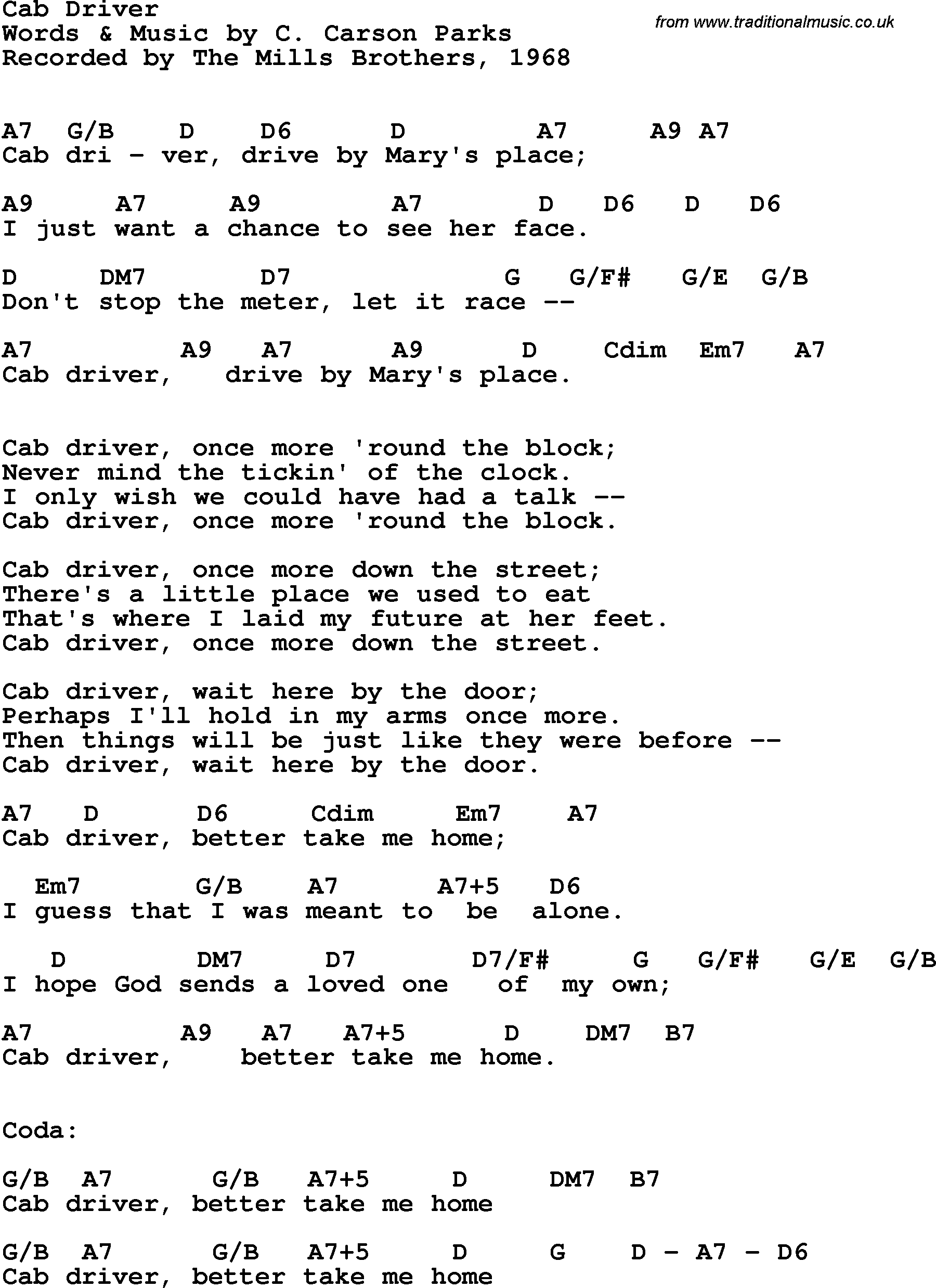 Song Lyrics With Guitar Chords For Cab Driver The Mills Brothers 1968