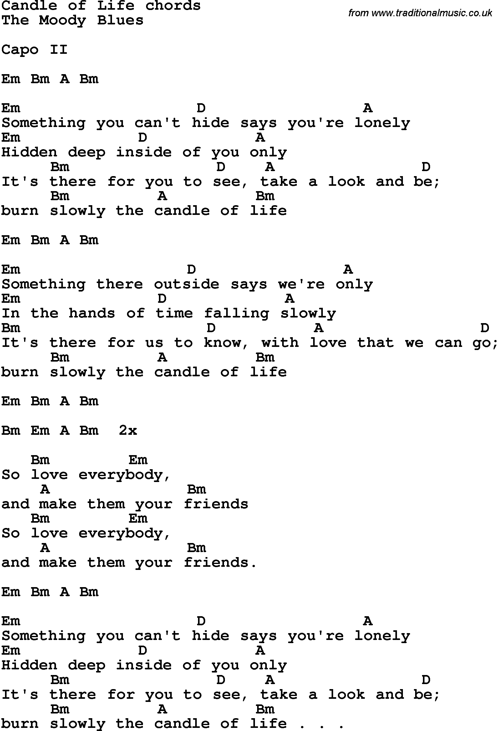 Song lyrics with guitar chords for candle of life song lyrics with guitar chords for candle of life hexwebz Image collections