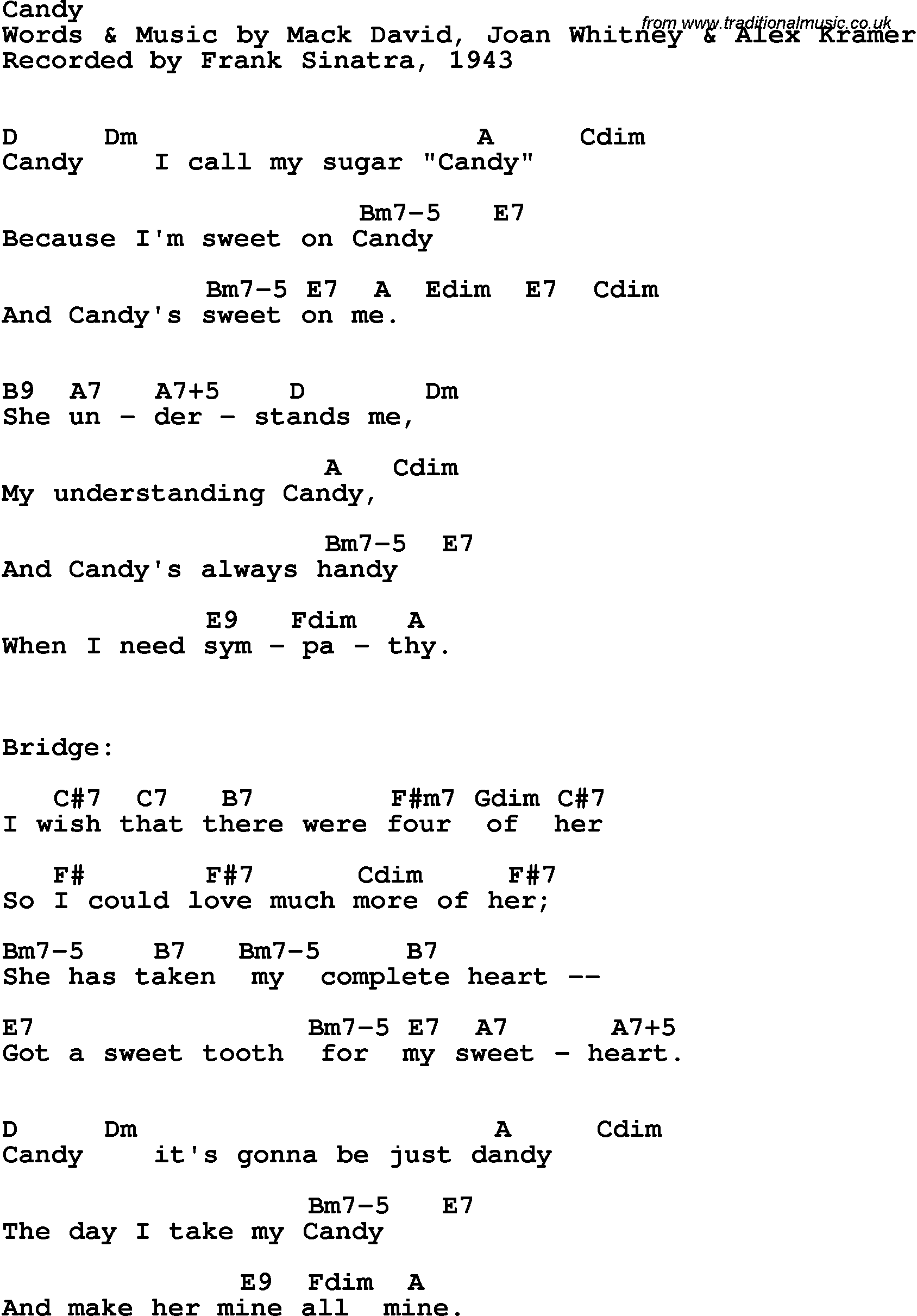 Song Lyrics With Guitar Chords For Candy Frank Sinatra 1943