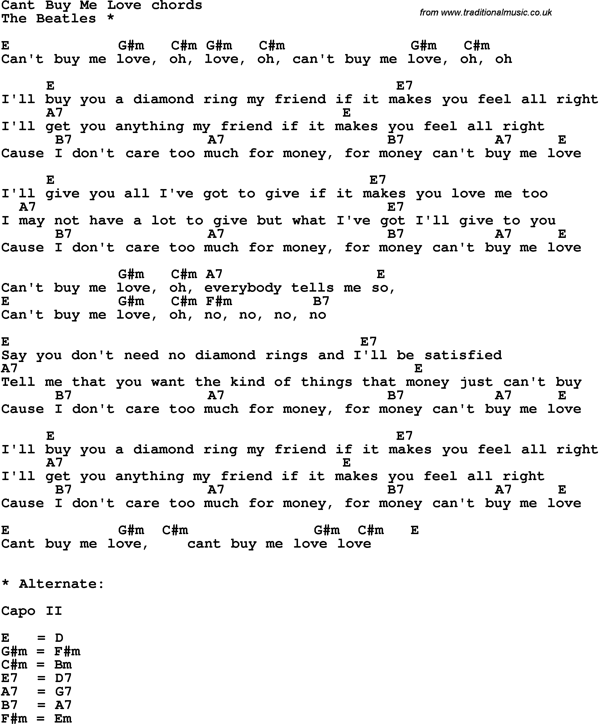 Song Lyrics With Guitar Chords For Cant Buy Me Love The Beatles