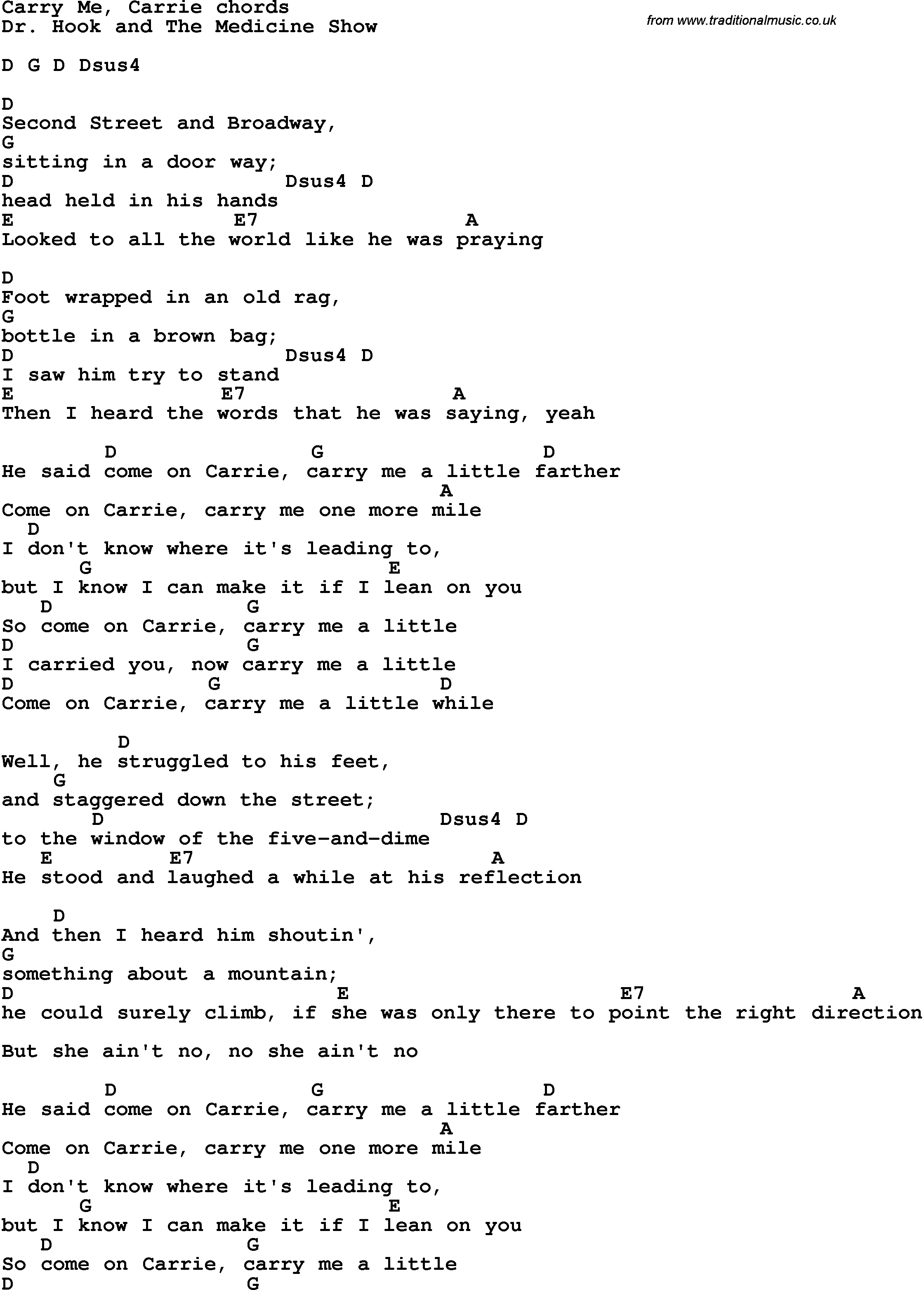 Song Lyrics With Guitar Chords For Carry Me Carrie