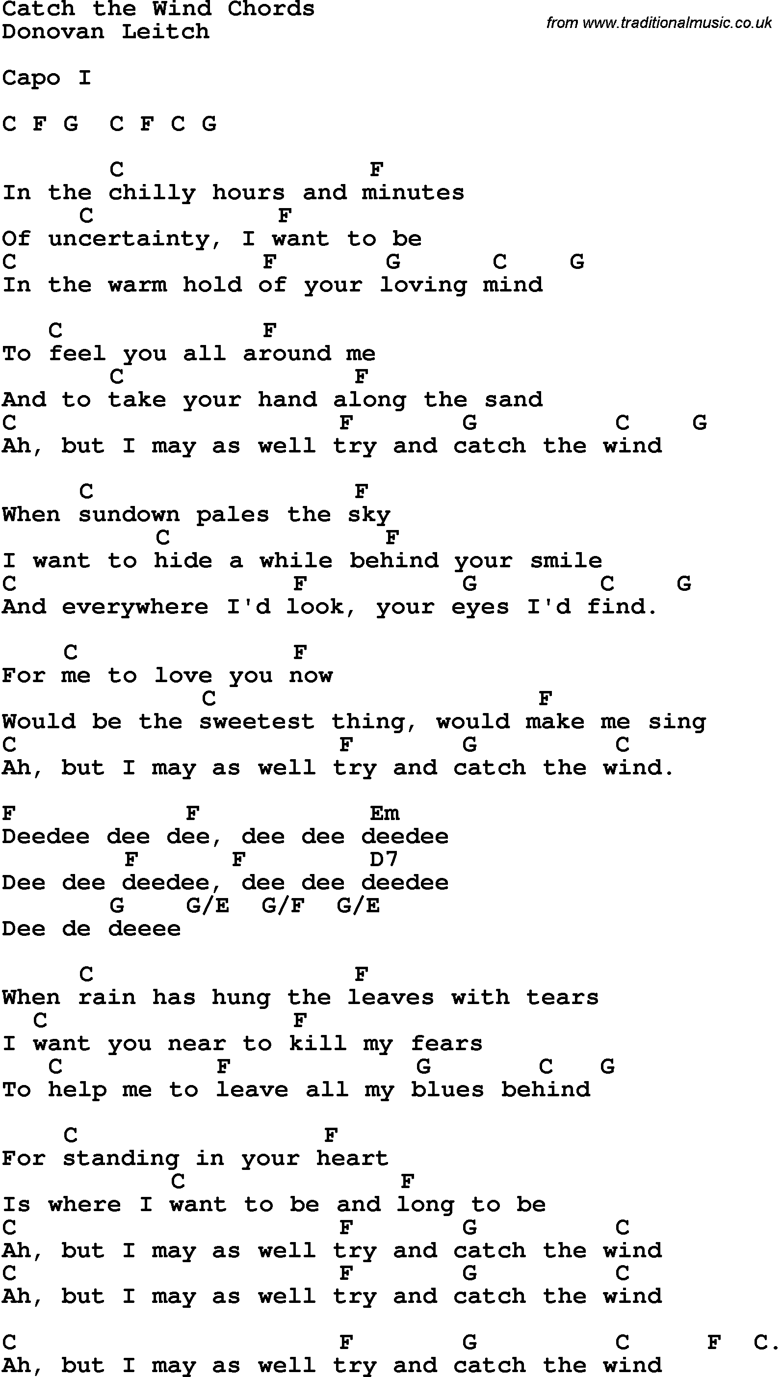 Song Lyrics With Guitar Chords For Catch The Wind