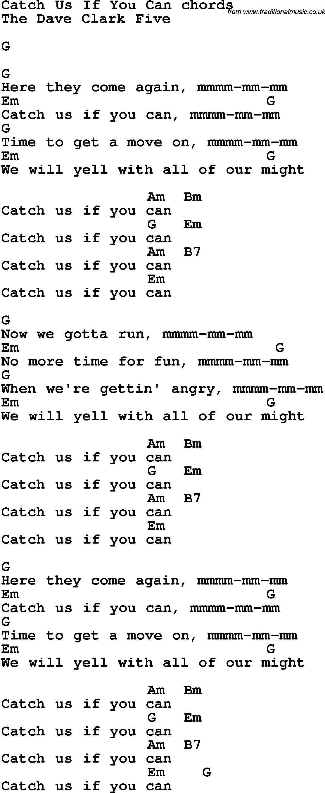 Song Lyrics With Guitar Chords For Catch Us If You Can