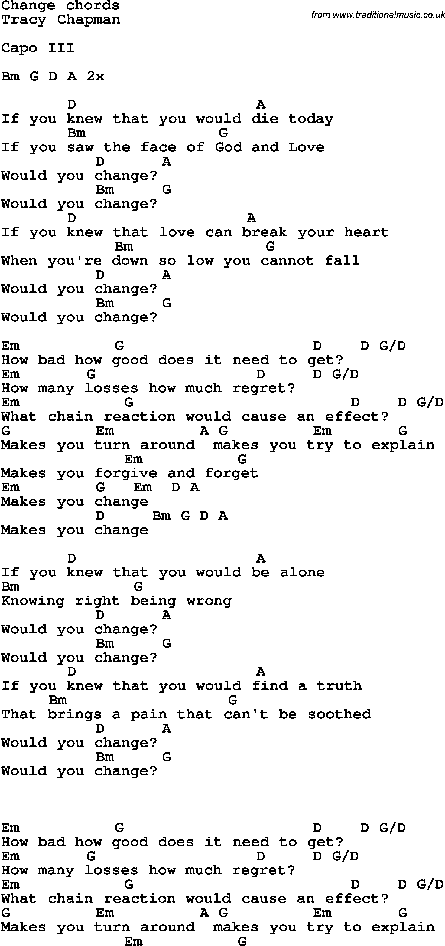 Song Lyrics With Guitar Chords For Change