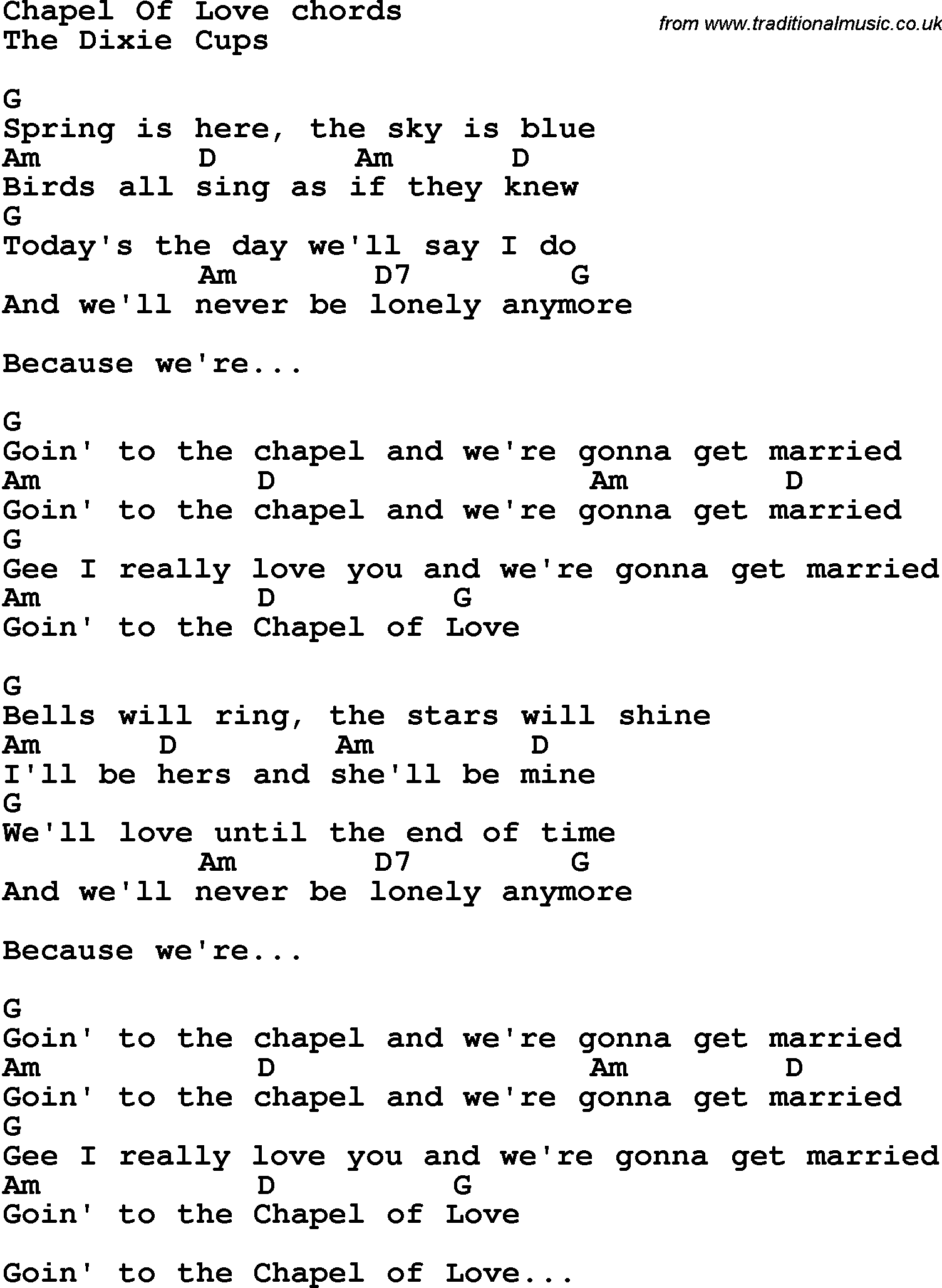 Song Lyrics With Guitar Chords For Chapel Of Love