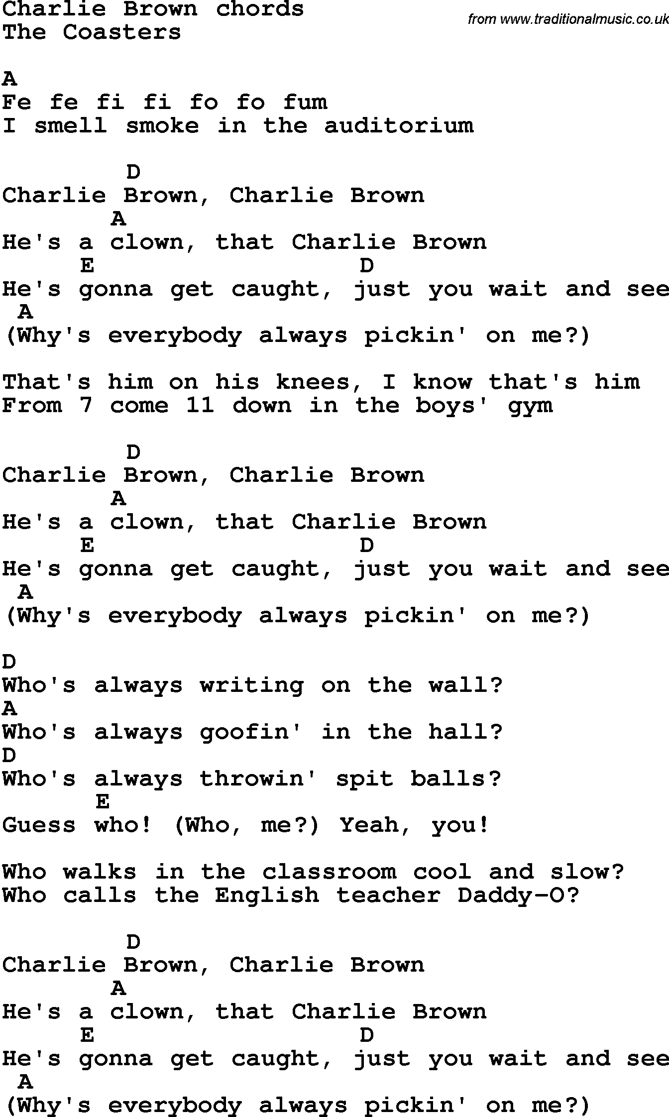 Song Lyrics With Guitar Chords For Charlie Brown