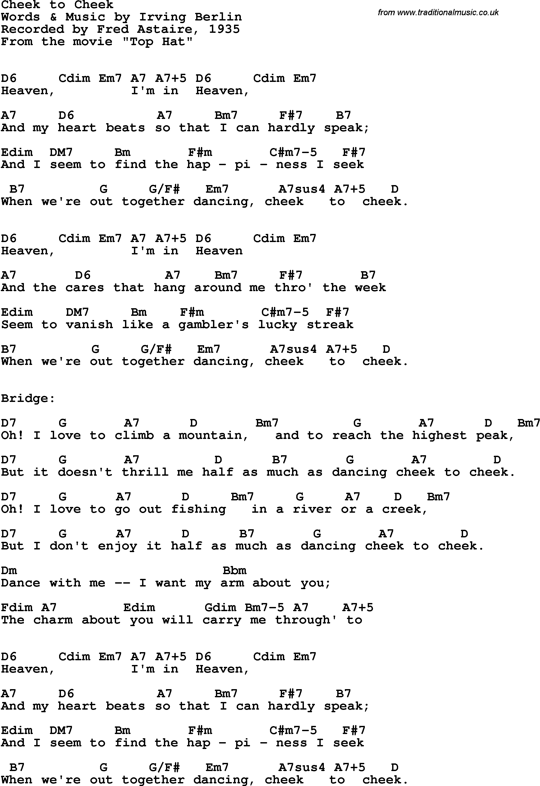 Song Lyrics With Guitar Chords For Cheek To Cheek Fred Astaire 1935