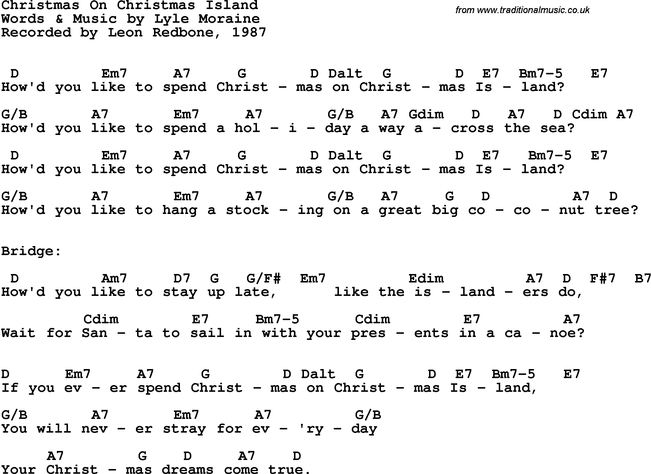 Christmas Island Chords Juveique27