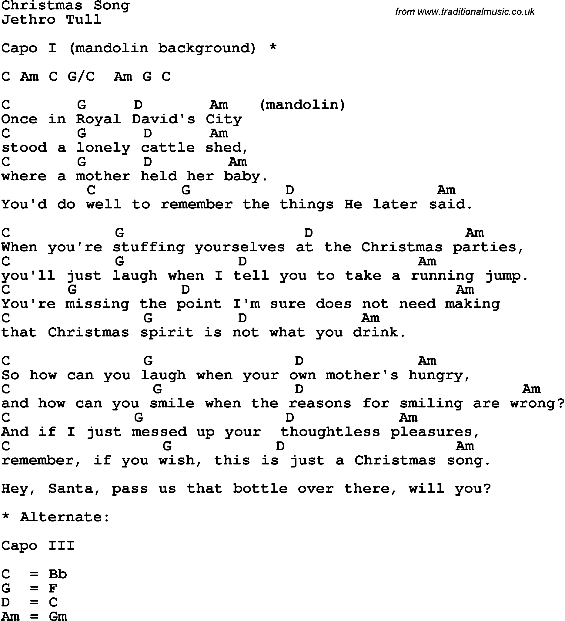 Song lyrics with guitar chords for Christmas Song - Jethro Tull