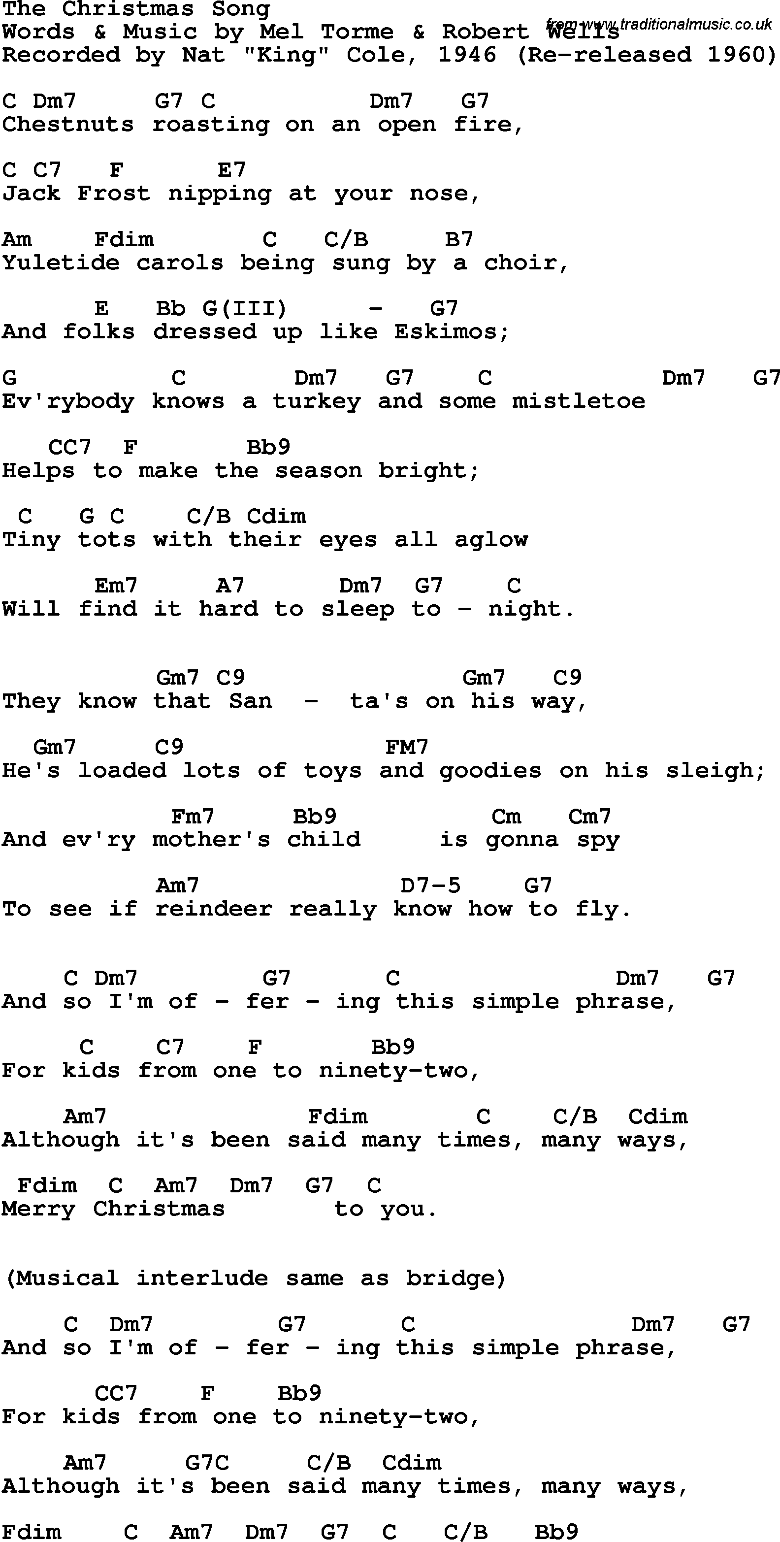 song lyrics with guitar chords for christmas song the nat king cole 1946