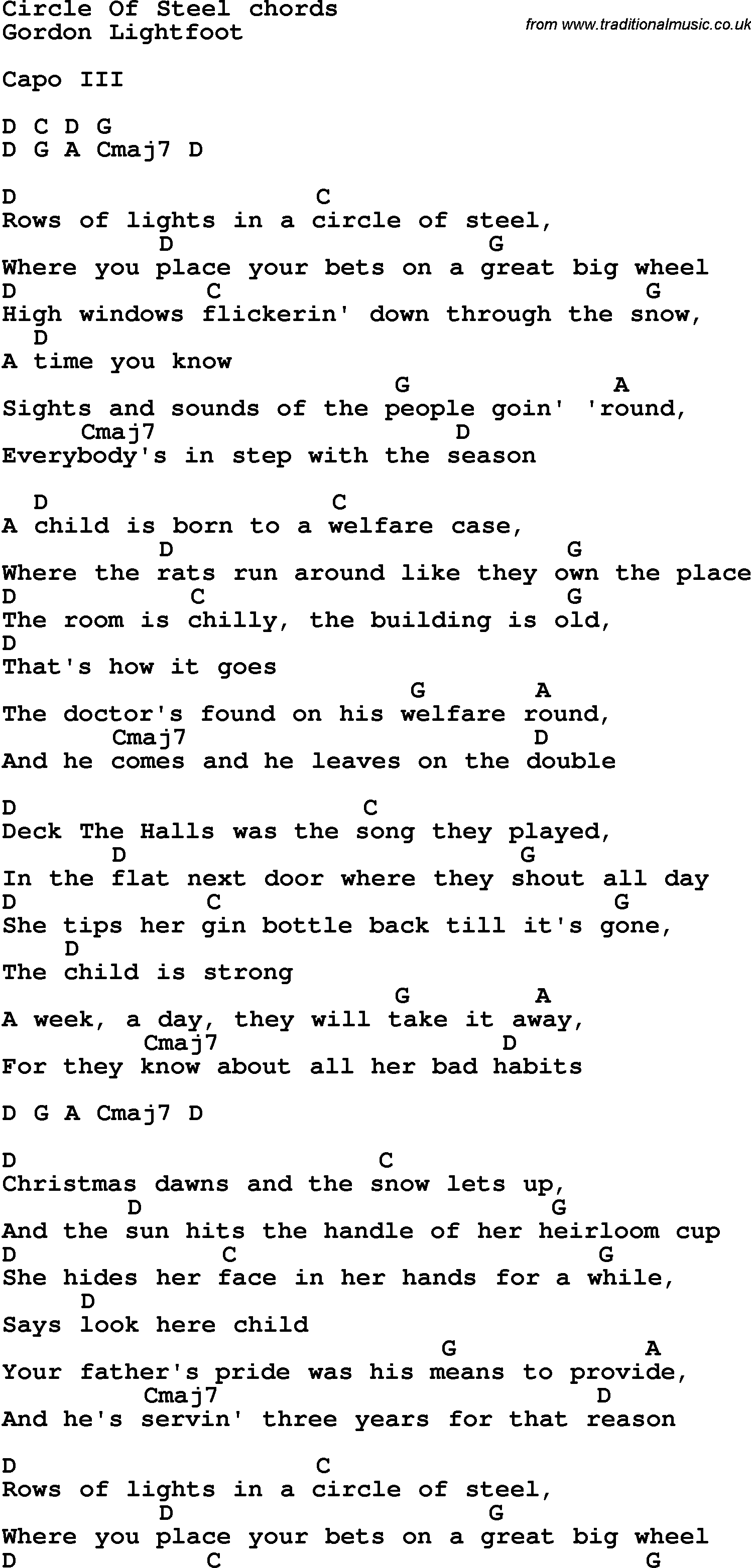 Song Lyrics With Guitar Chords For Circle Of Steel