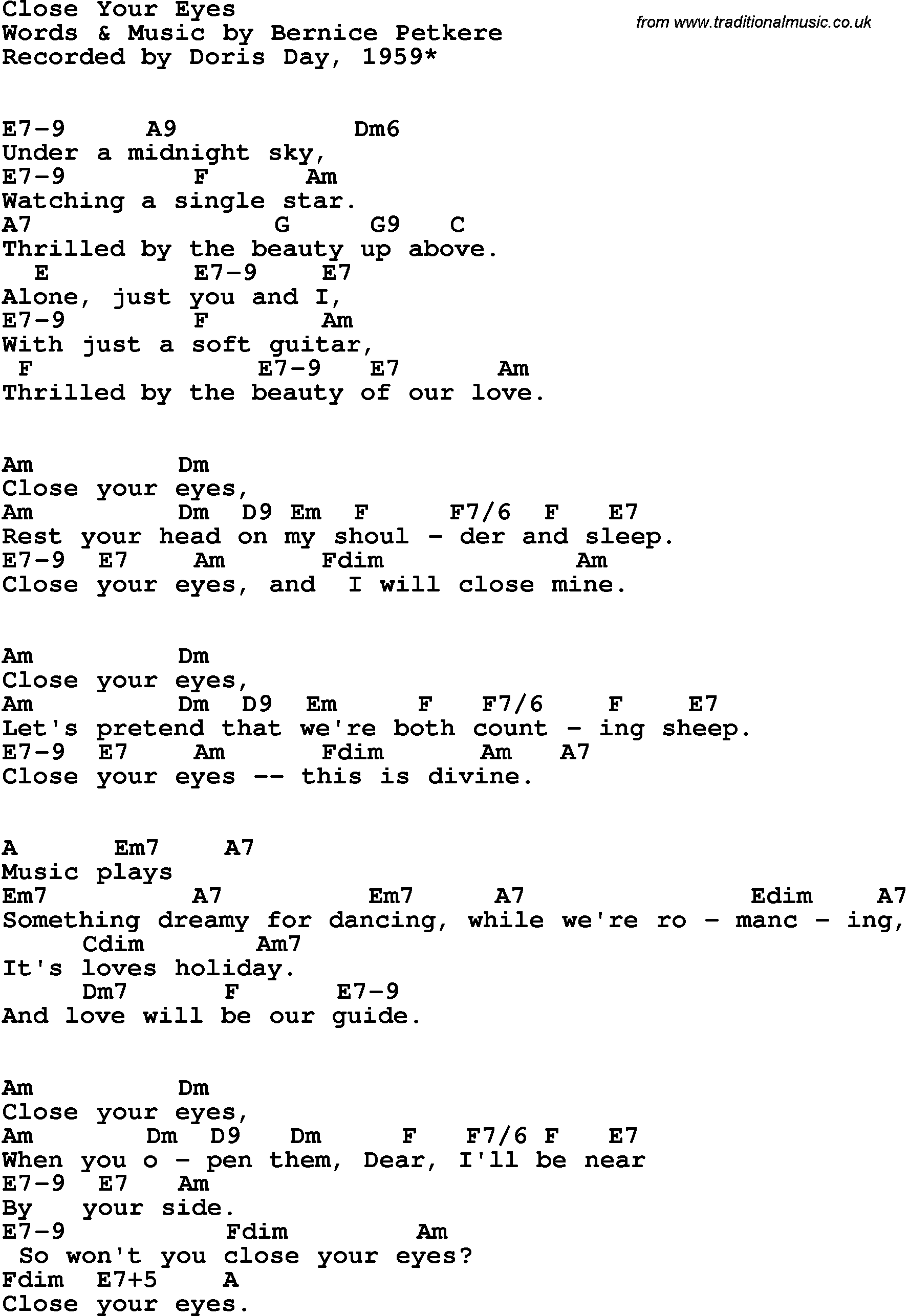 Song lyrics with guitar chords for Close Your Eyes - Doris Day, 1959