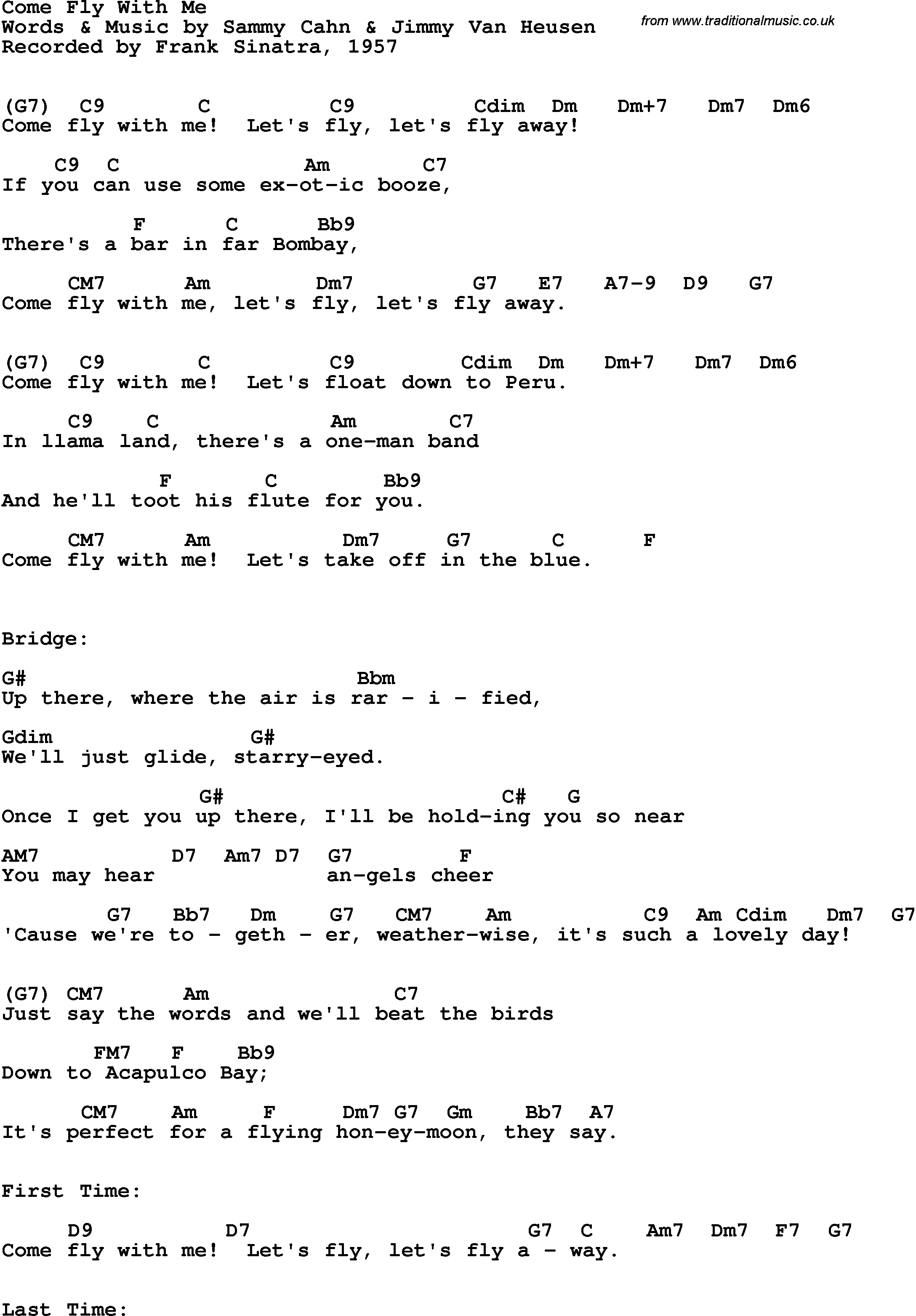 Song Lyrics With Guitar Chords For Come Fly With Me Frank Sinatra