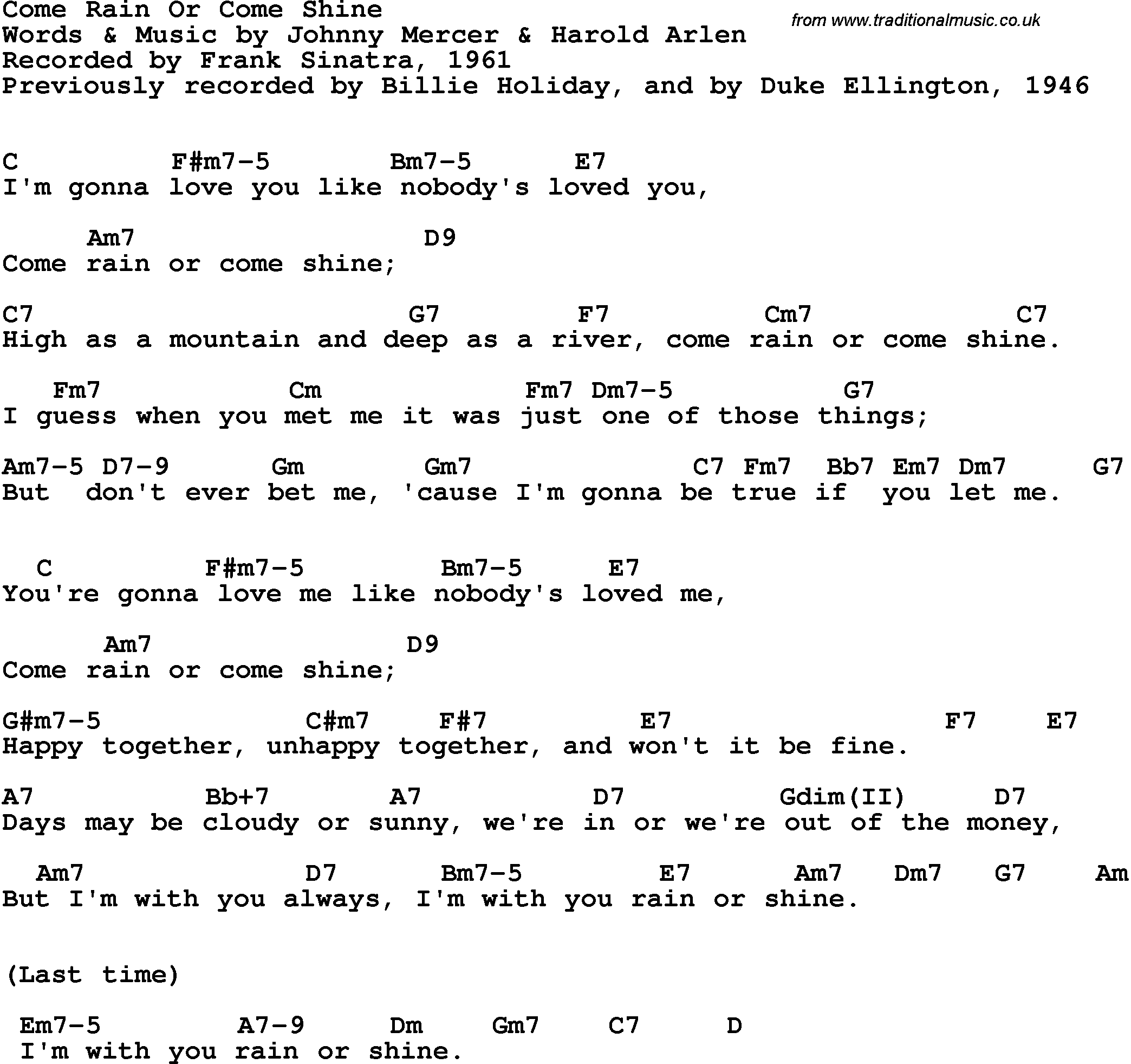 Song Lyrics With Guitar Chords For Come Rain Or Come Shine Frank