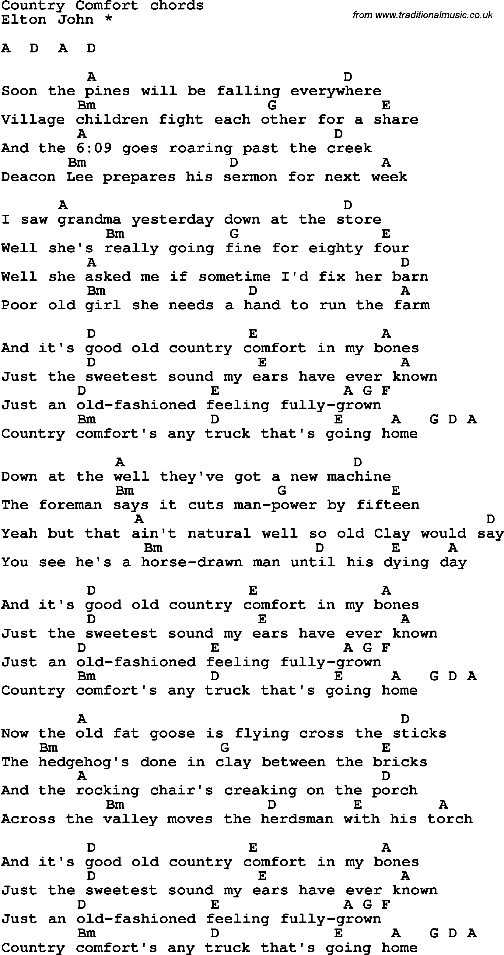 Song lyrics with guitar chords for Country Comfort