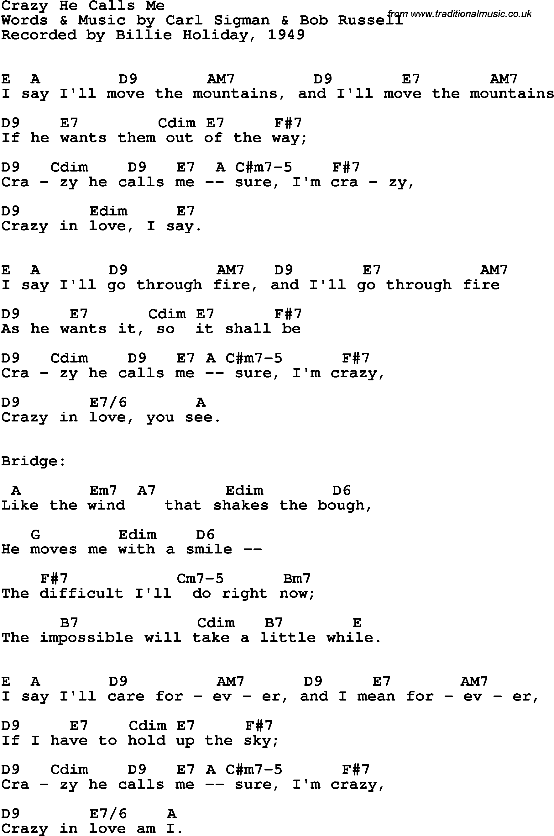 Song lyrics with guitar chords for crazy he calls me billie holiday