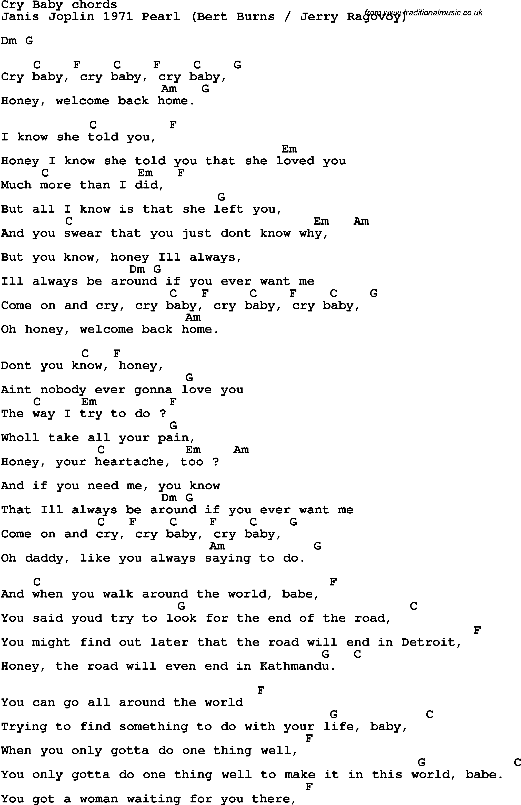 Song Lyrics With Guitar Chords For Cry Baby Janis Joplin 1971
