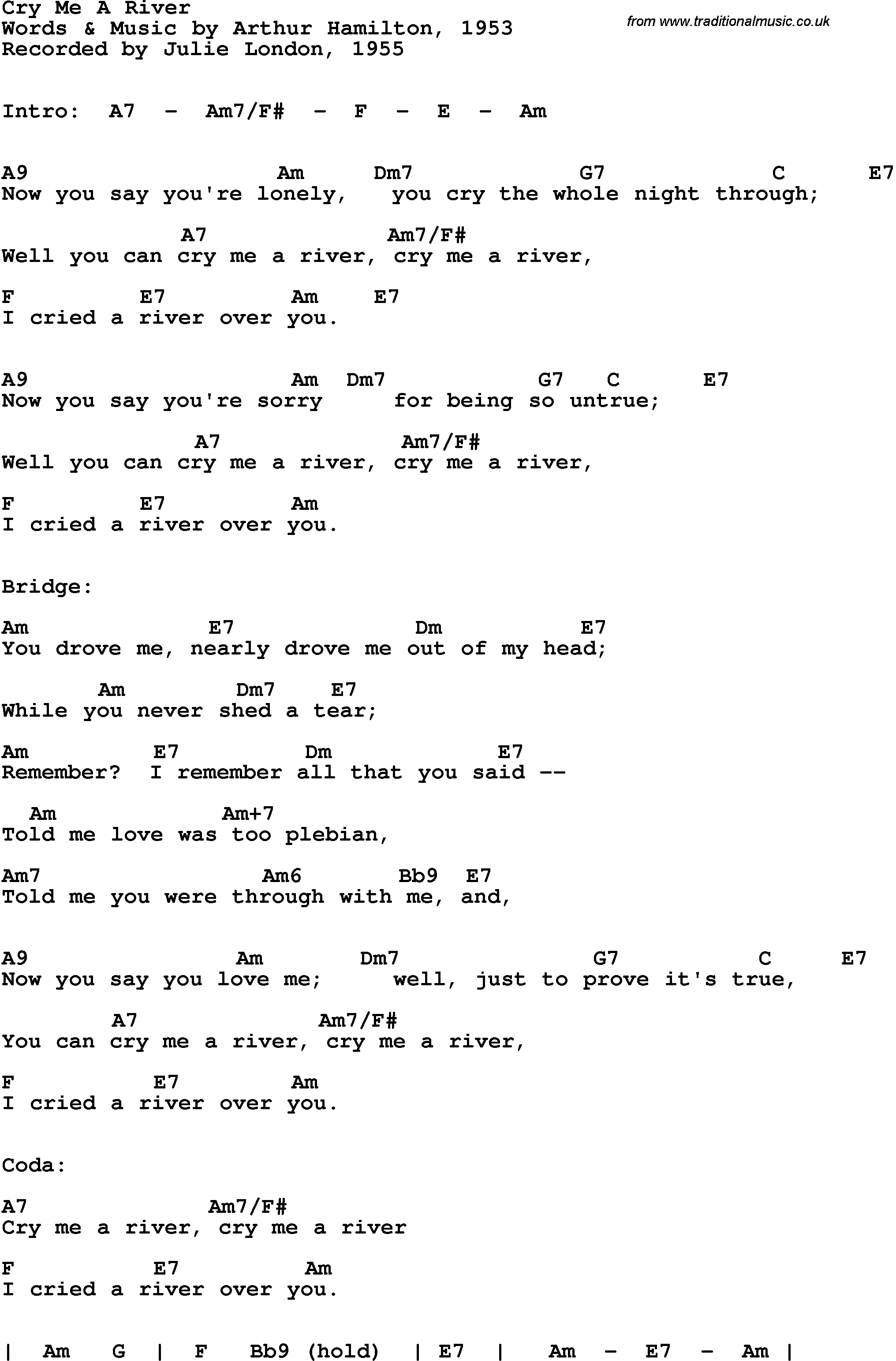Song Lyrics With Guitar Chords For Cry Me A River Julie London 1955