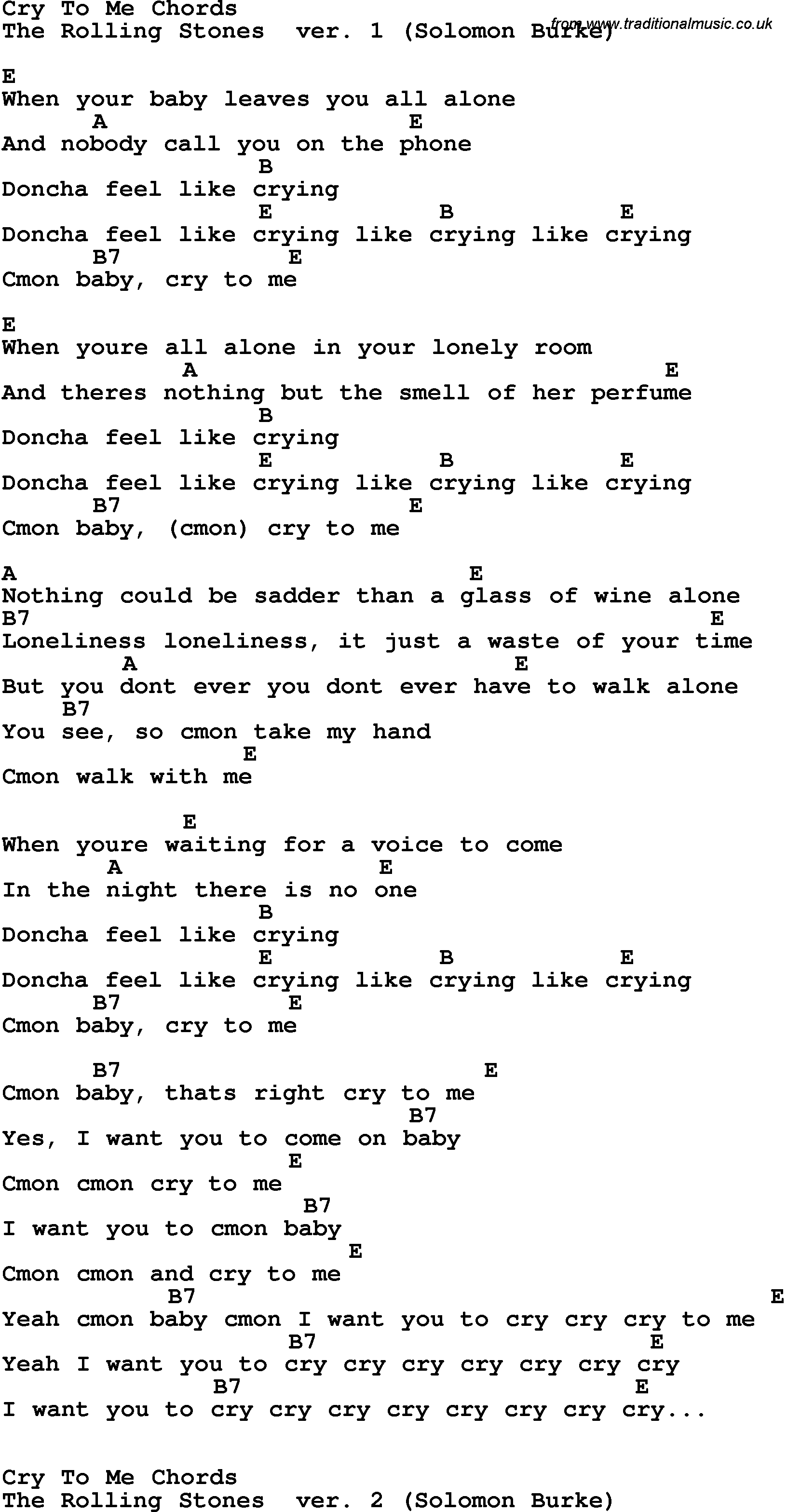 Song Lyrics With Guitar Chords For Cry To Me
