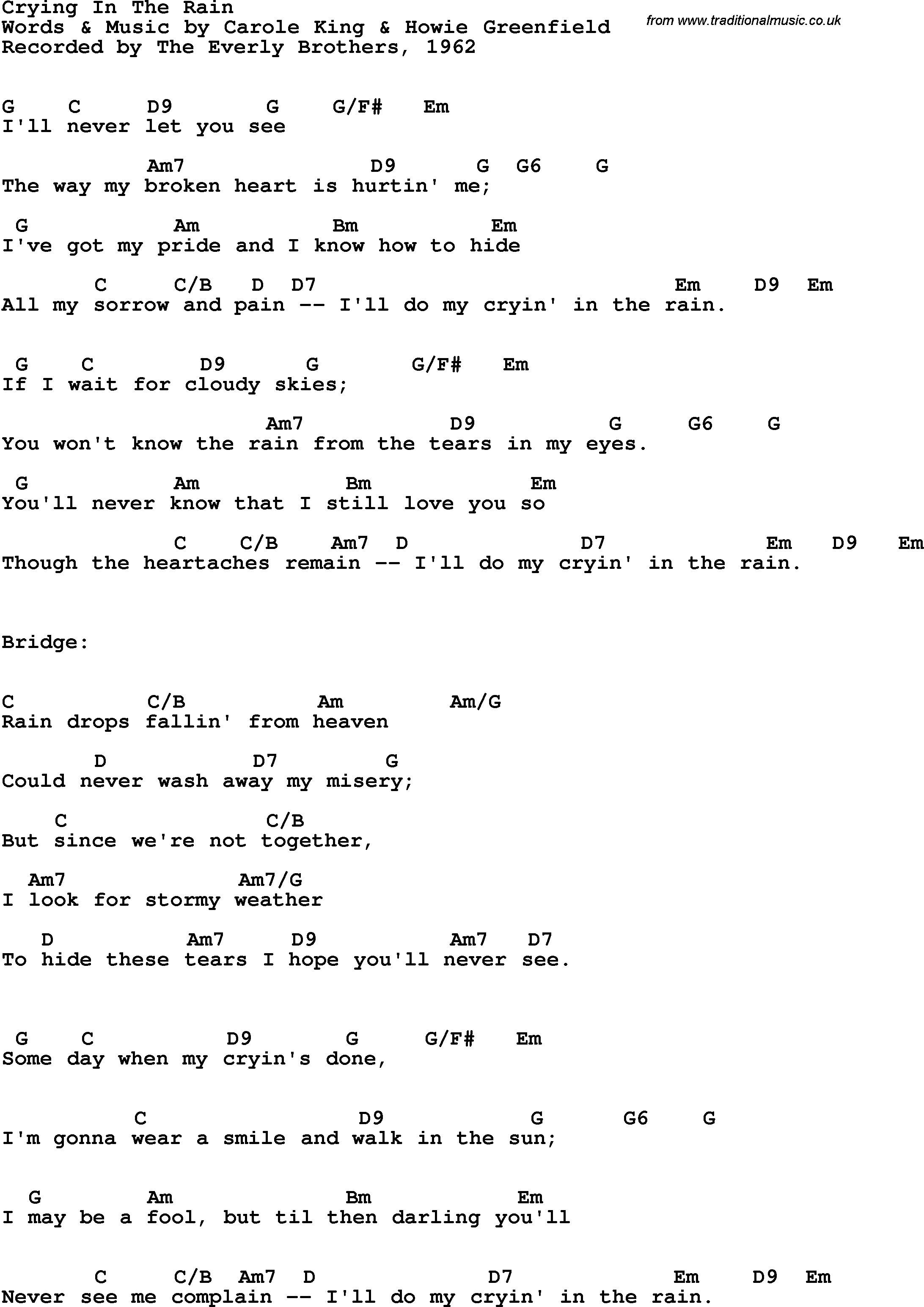 Song Lyrics With Guitar Chords For Crying In The Rain The Everly