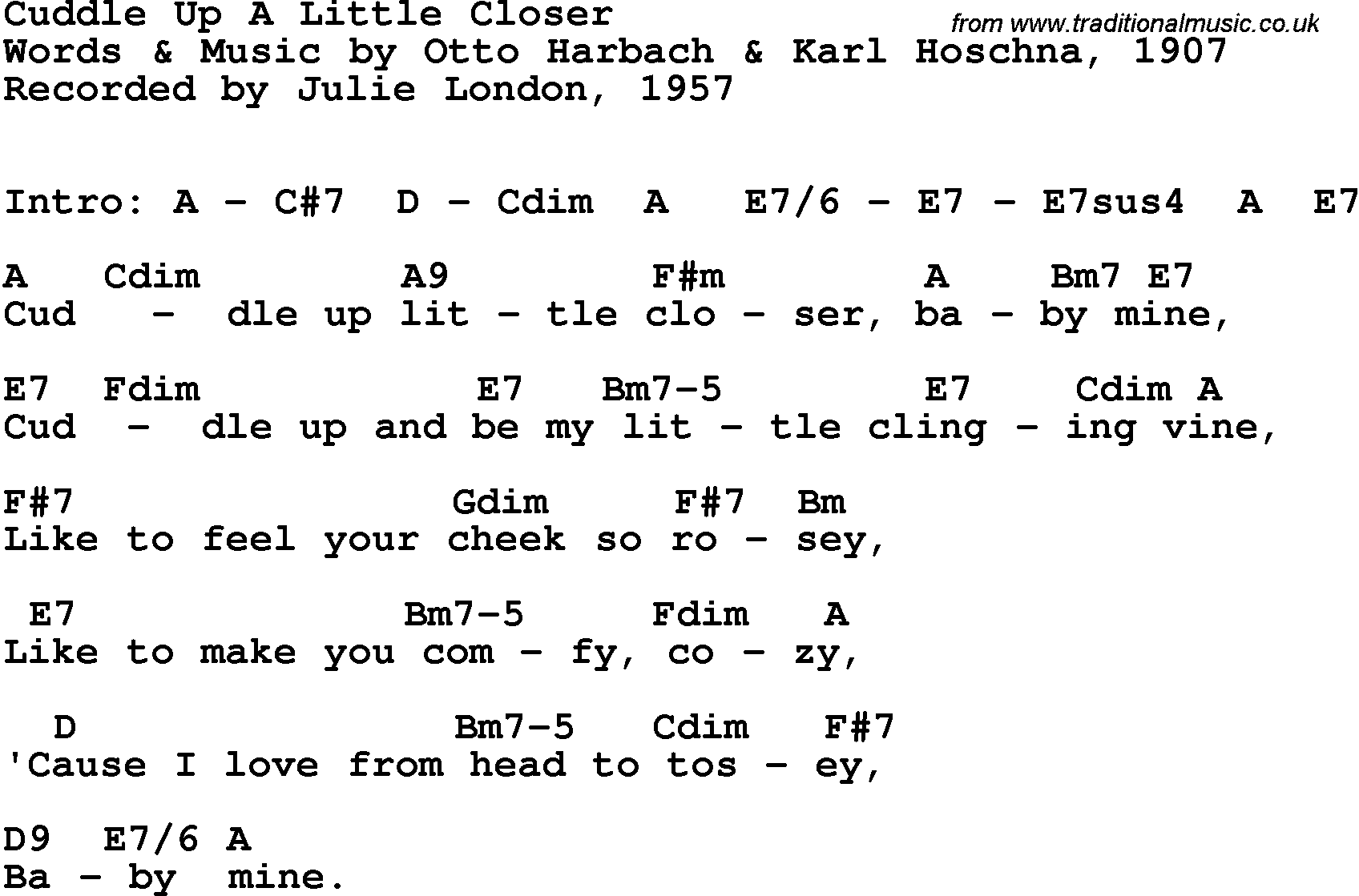 Song Lyrics With Guitar Chords For Cuddle Up A Little Closer Julie