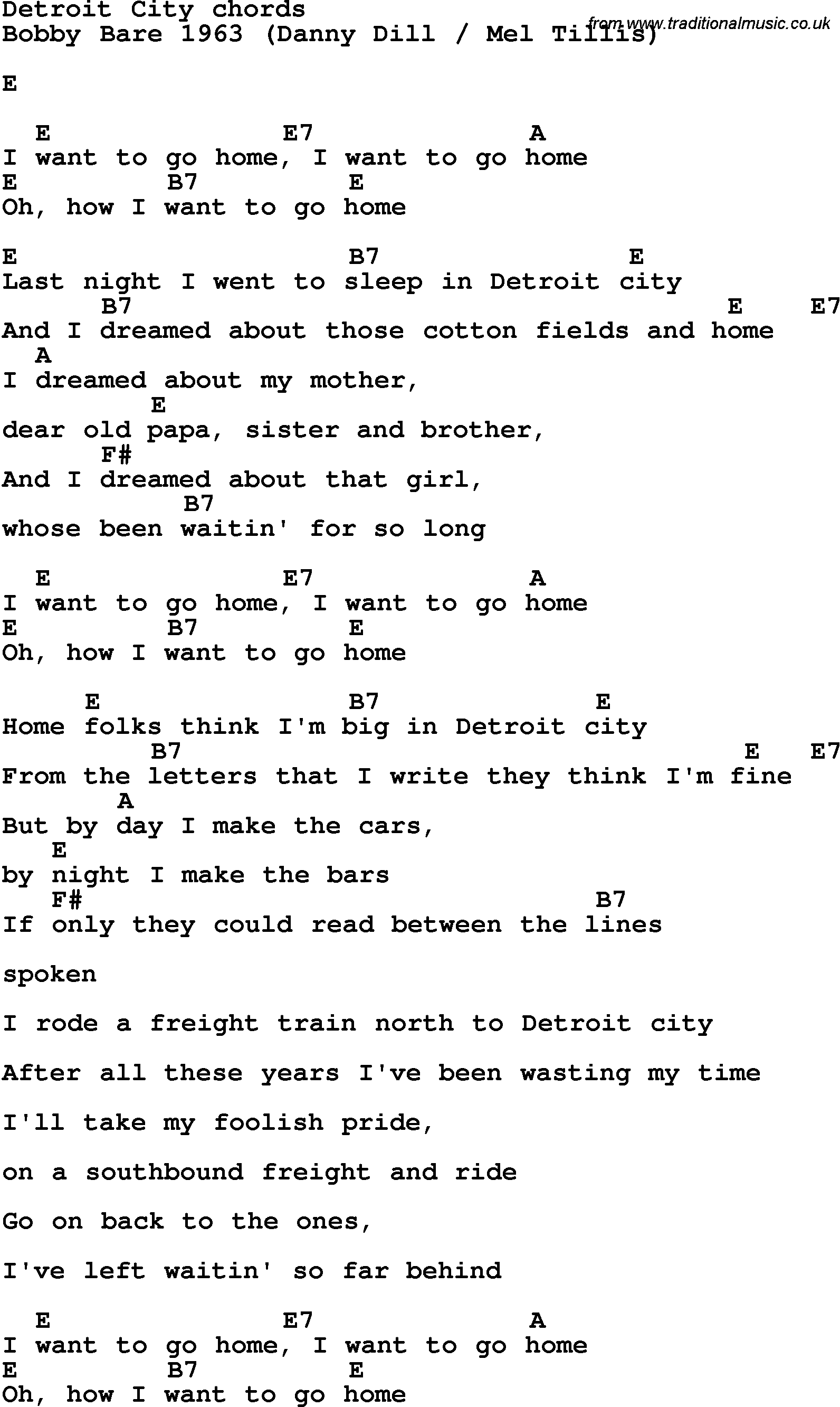 Song Lyrics With Guitar Chords For Detroit City