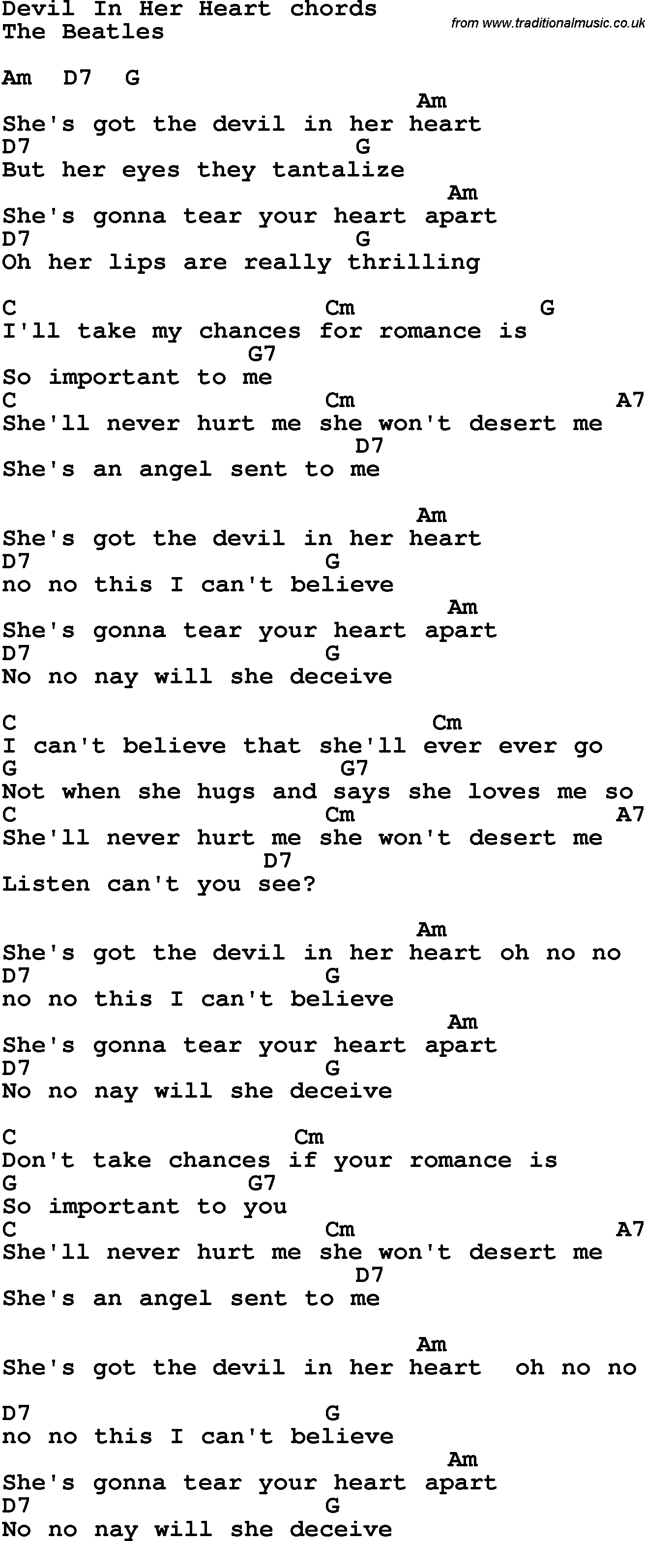 Song Lyrics With Guitar Chords For Devil In Her Heart The Beatles