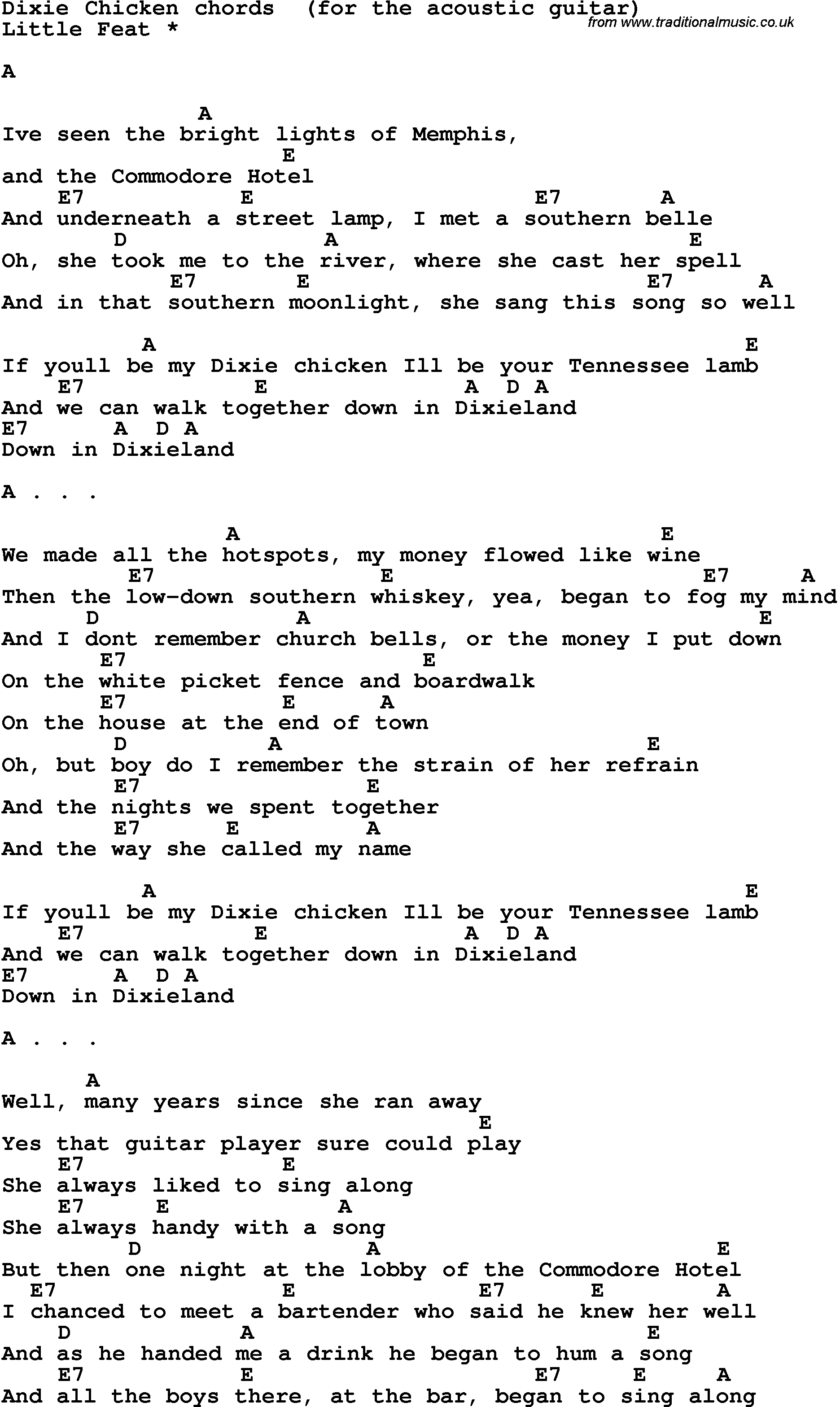Song Lyrics With Guitar Chords For Dixie Chicken