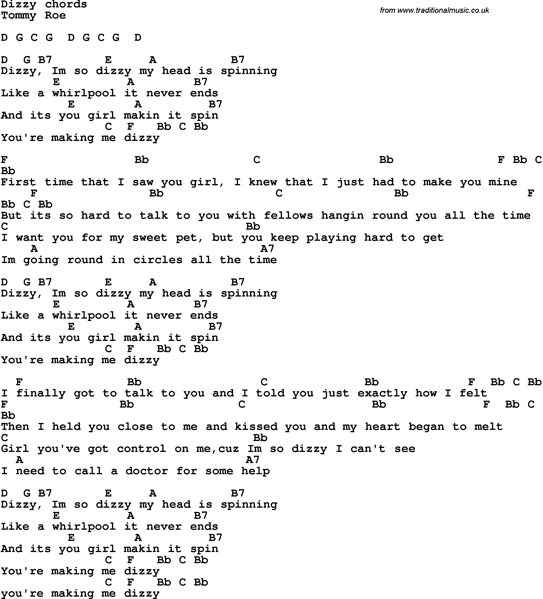 Song Lyrics With Guitar Chords For Dizzy
