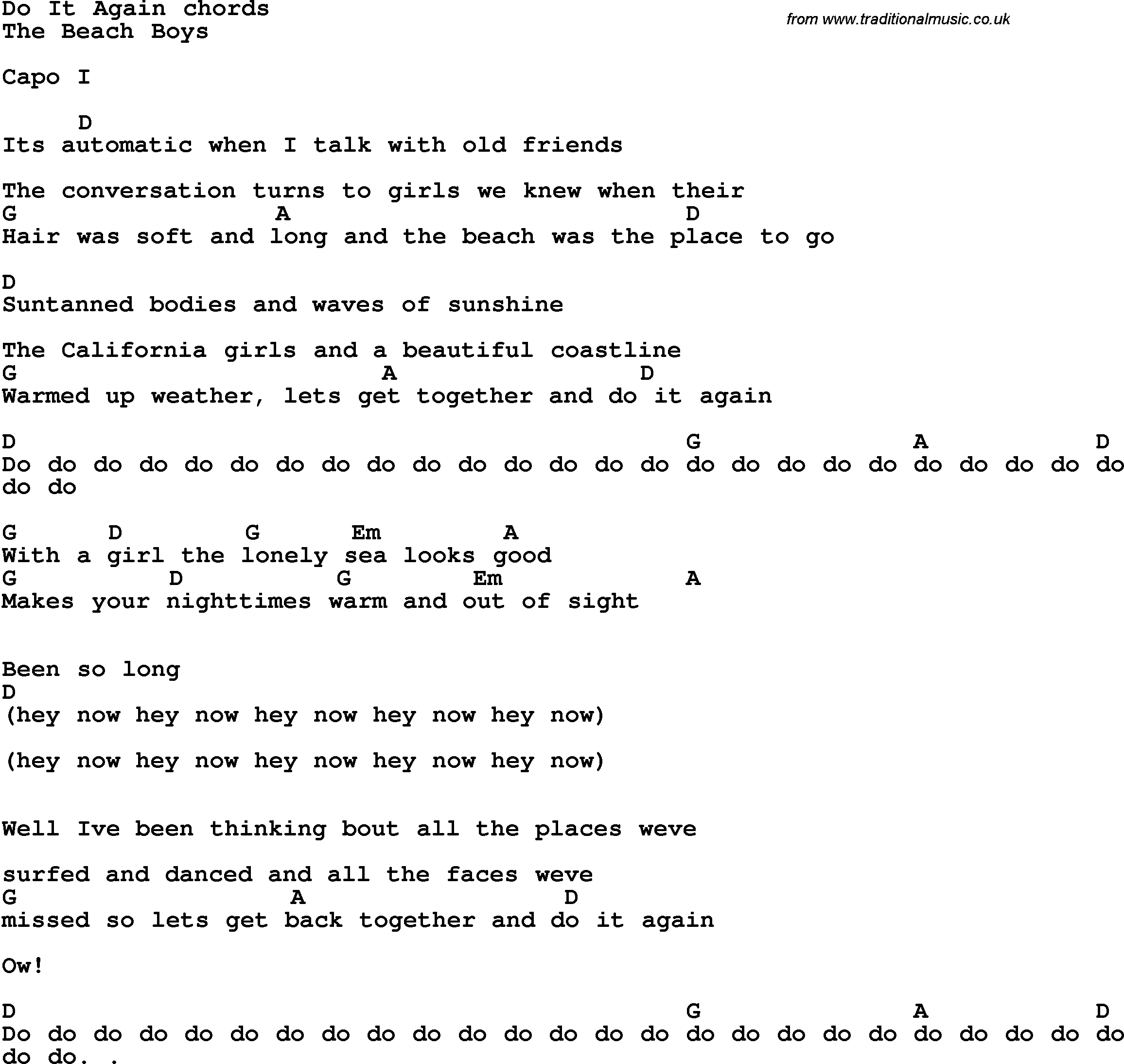 Song lyrics with guitar chords for Do It Again