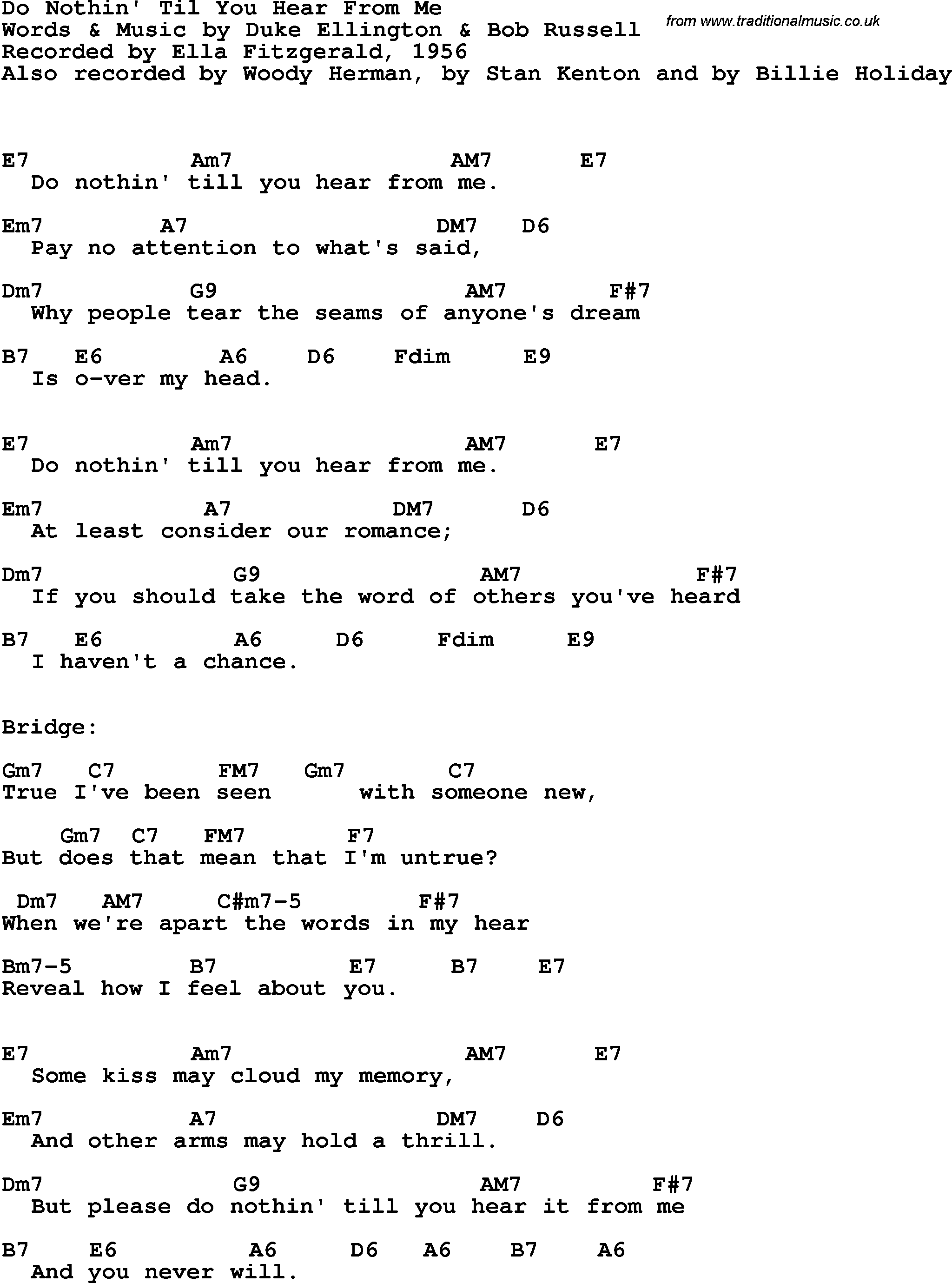 Song Lyrics With Guitar Chords For Do Nothin Til You Hear From Me