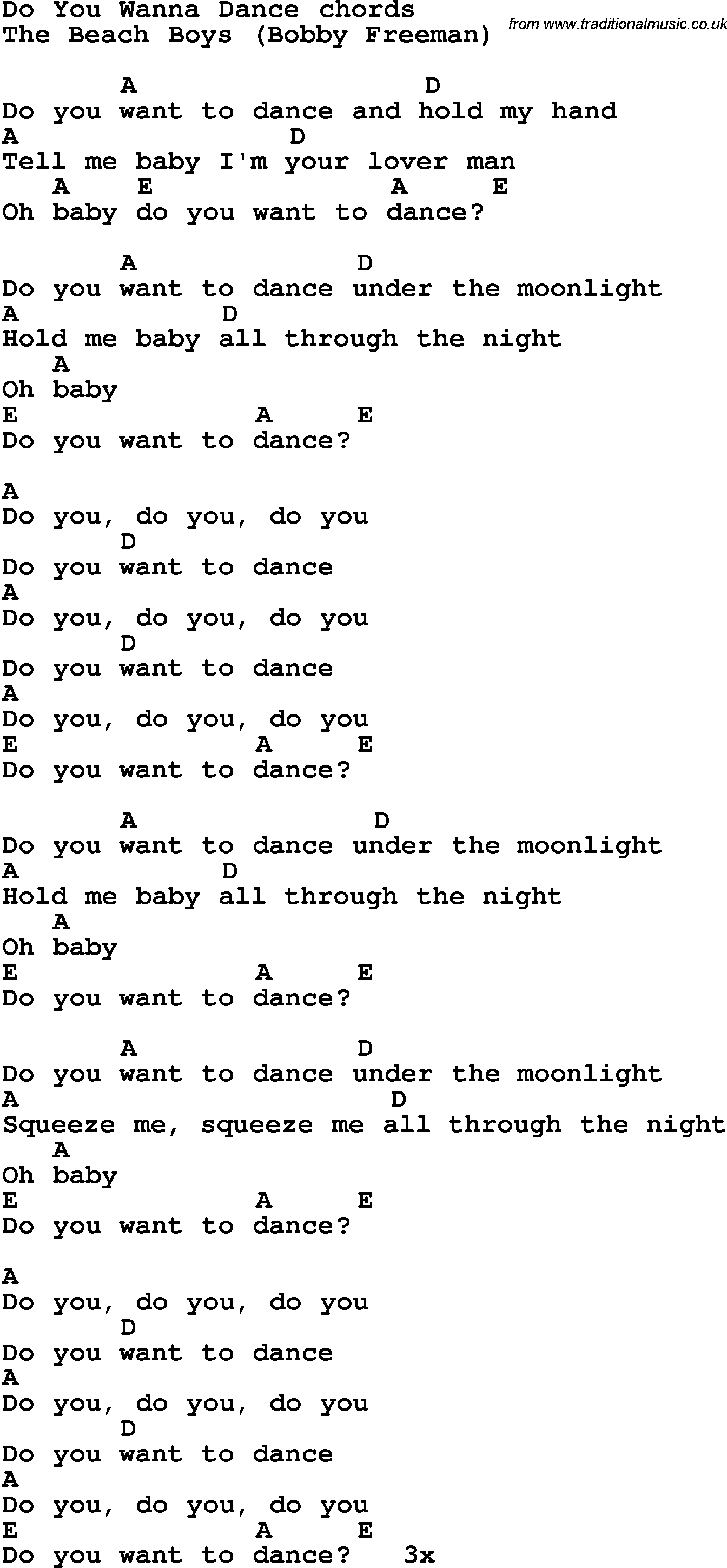 Song lyrics with guitar chords for do you wanna dance song lyrics with guitar chords for do you wanna dance hexwebz Gallery