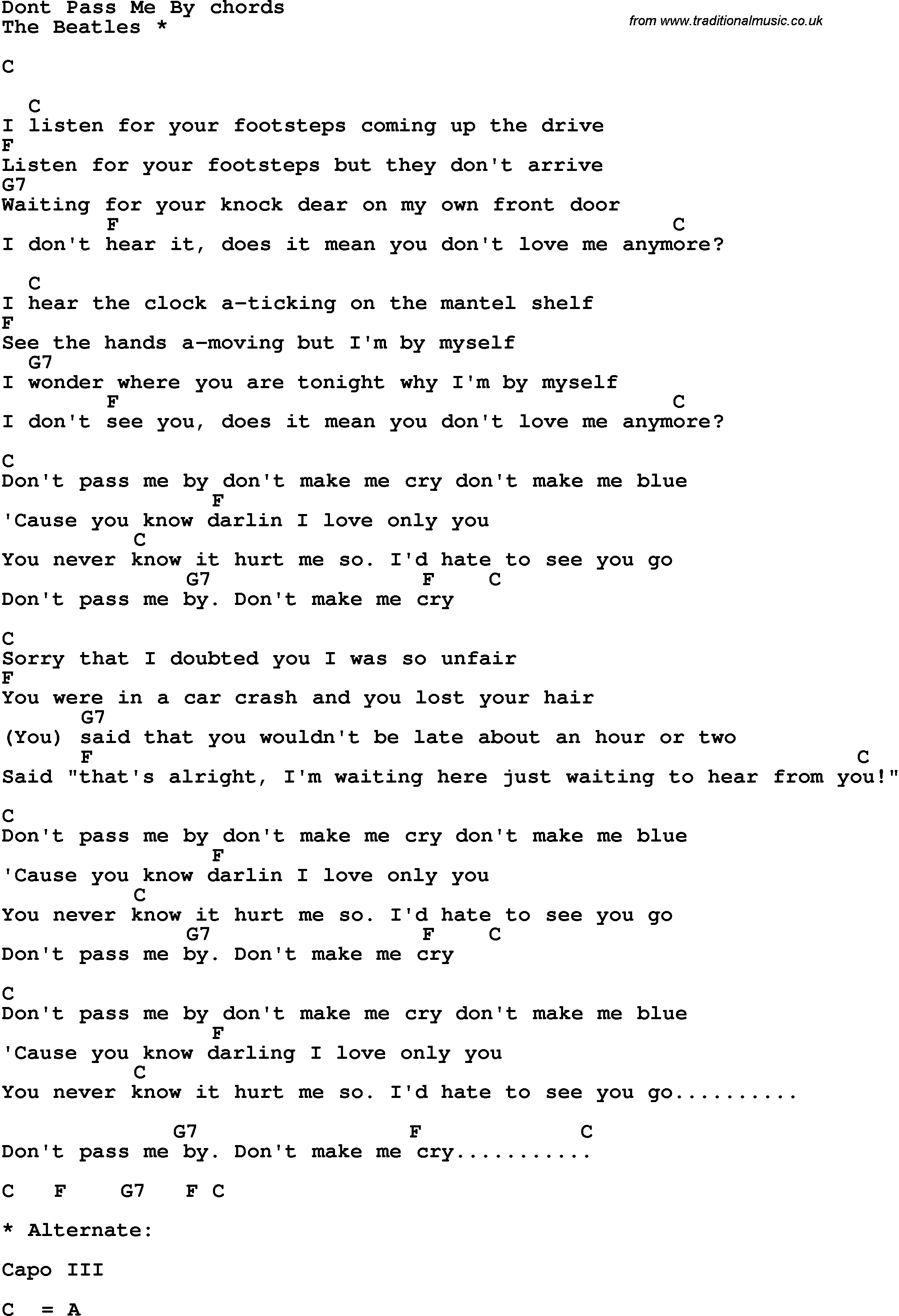 Song Lyrics With Guitar Chords For Dont Pass Me By The Beatles