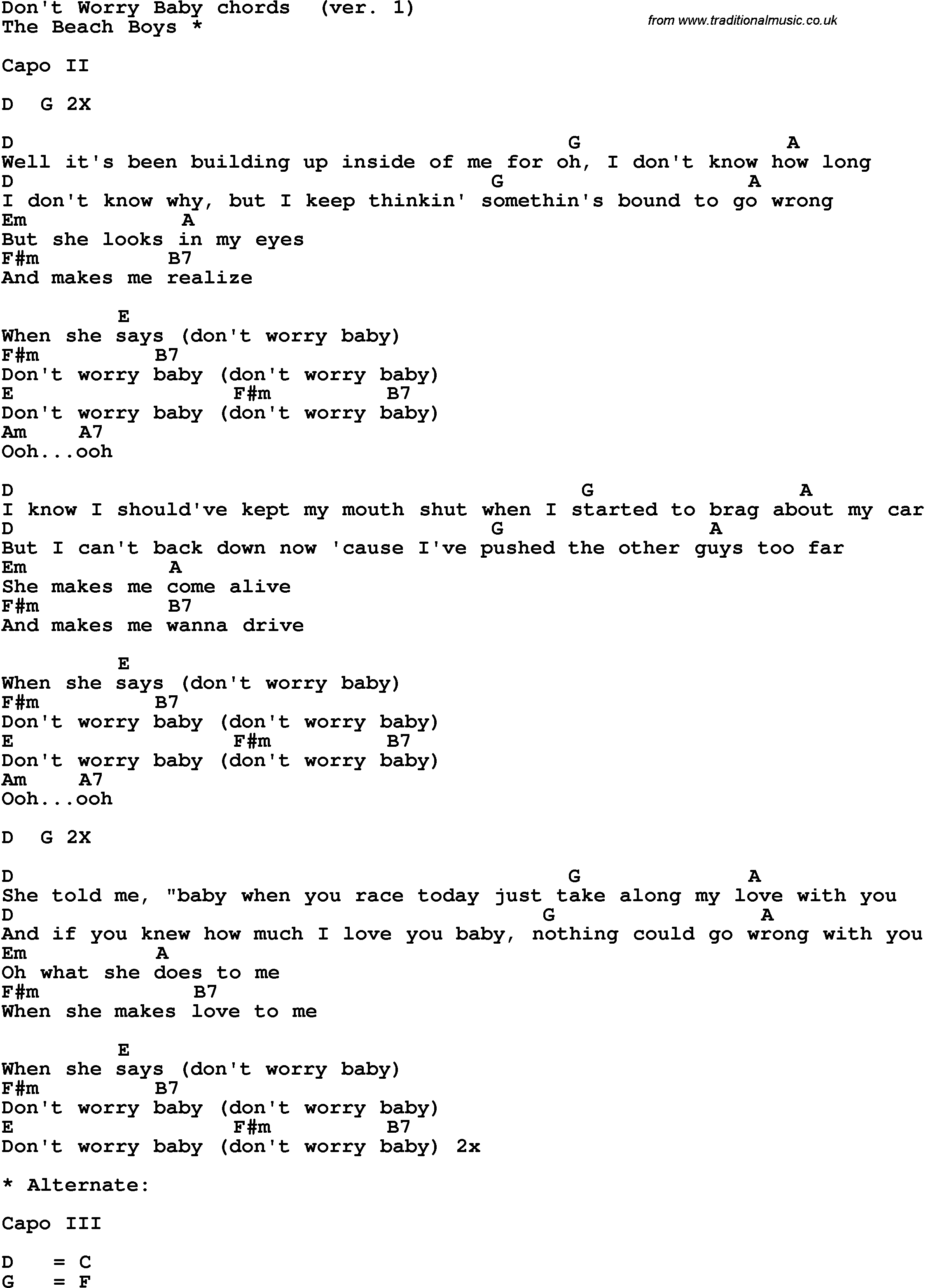 Song Lyrics With Guitar Chords For Dont Worry Baby