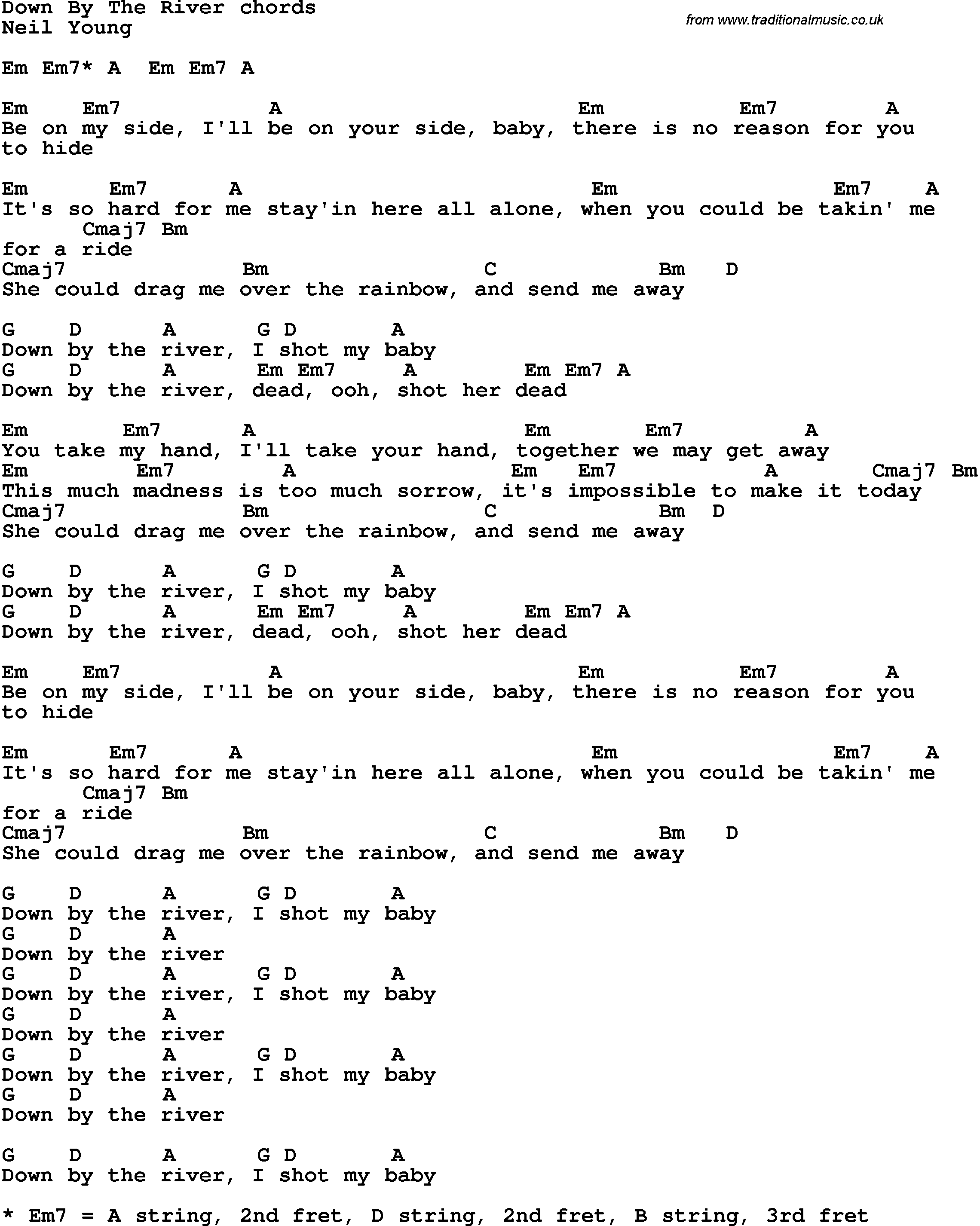 Song lyrics with guitar chords for Down By The River