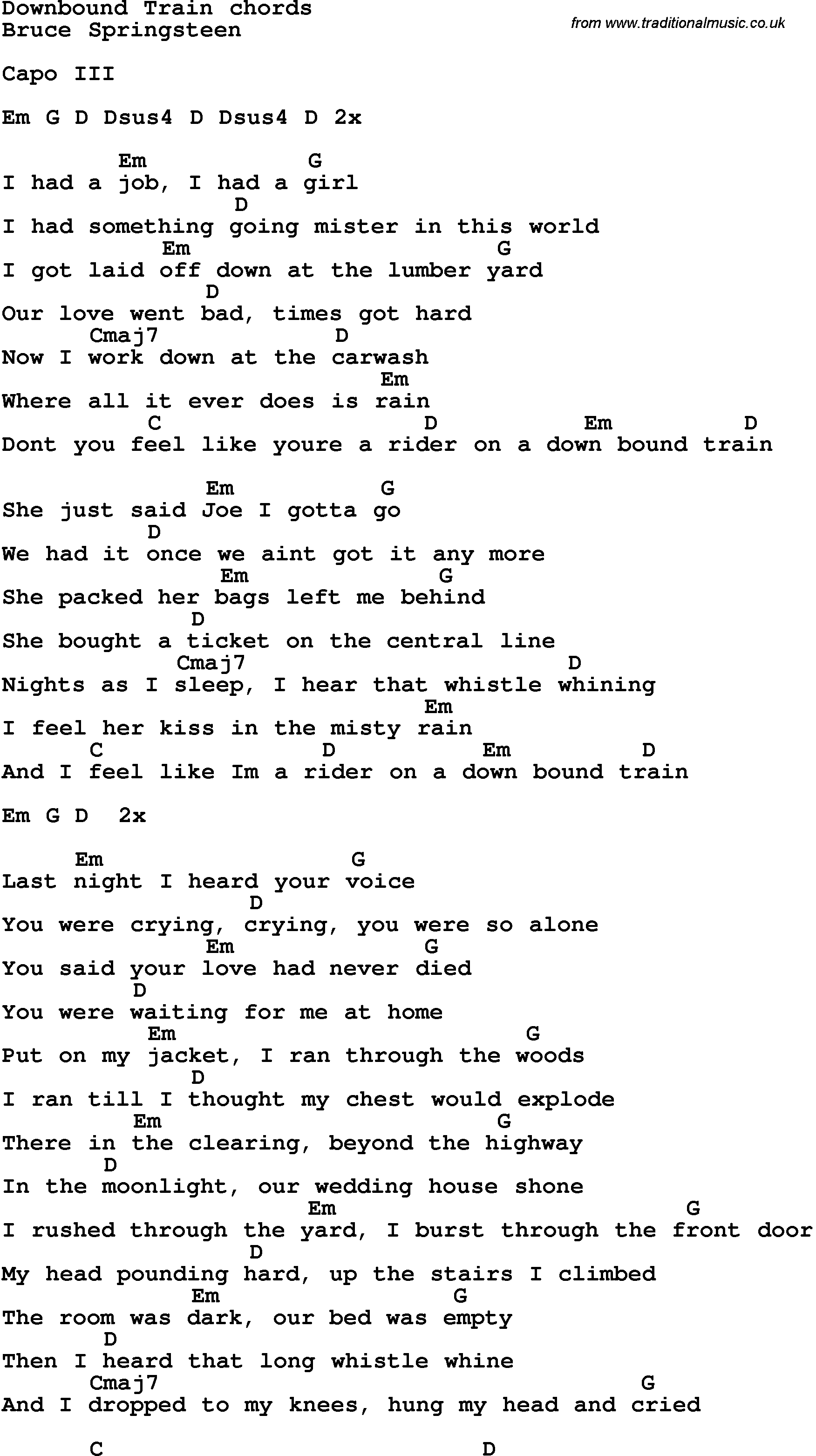 Song Lyrics With Guitar Chords For Downbound Train