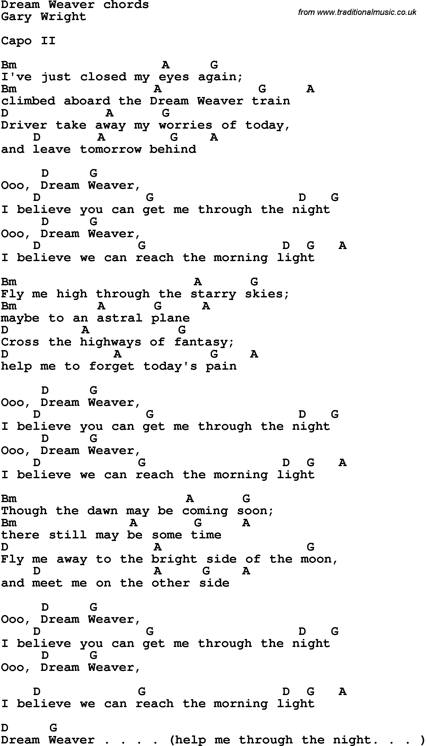 Song Lyrics With Guitar Chords For Dream Weaver