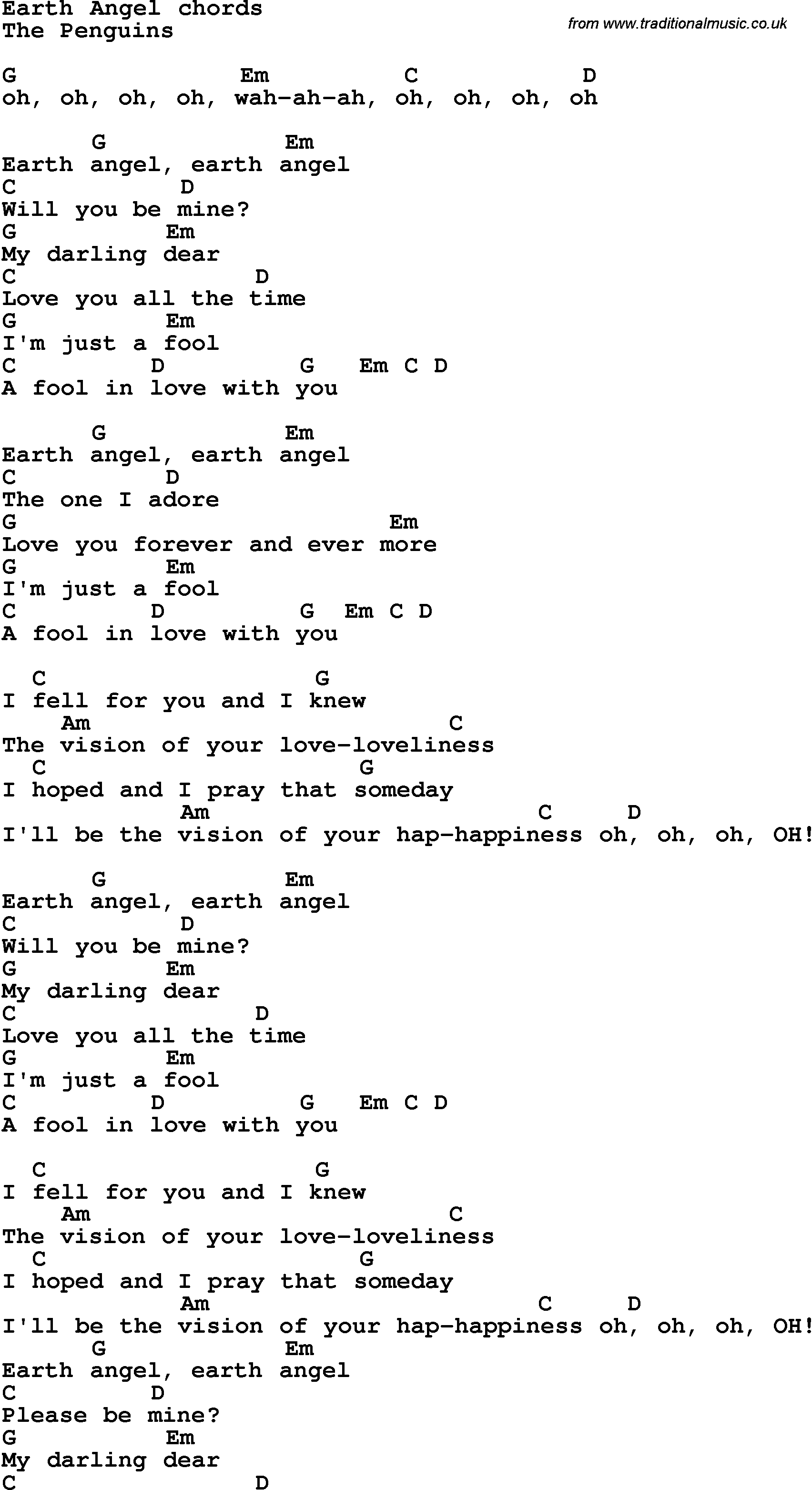 Song lyrics with guitar chords for Earth Angel