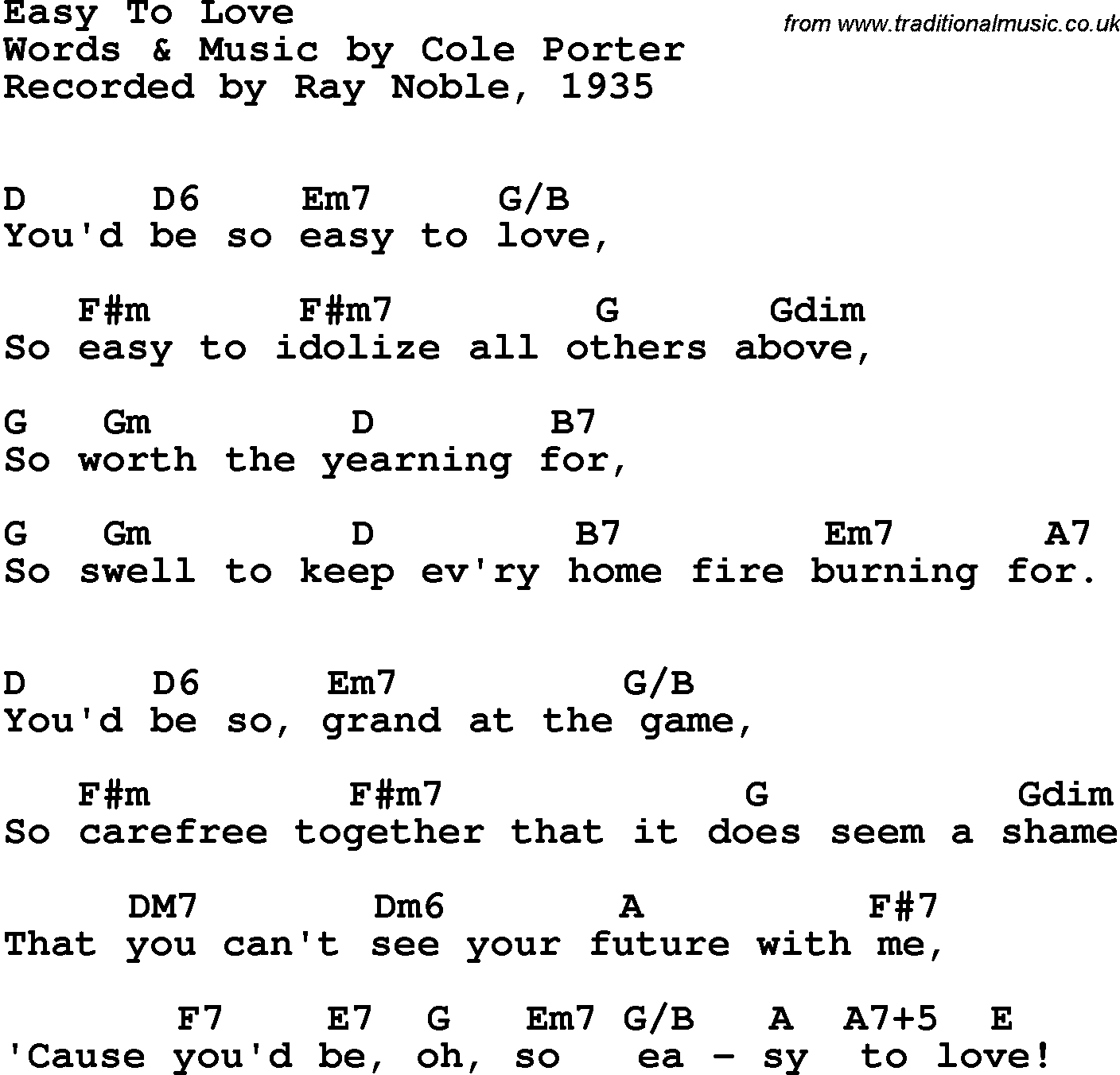 Song Lyrics With Guitar Chords For Easy To Love Ray Noble 1935