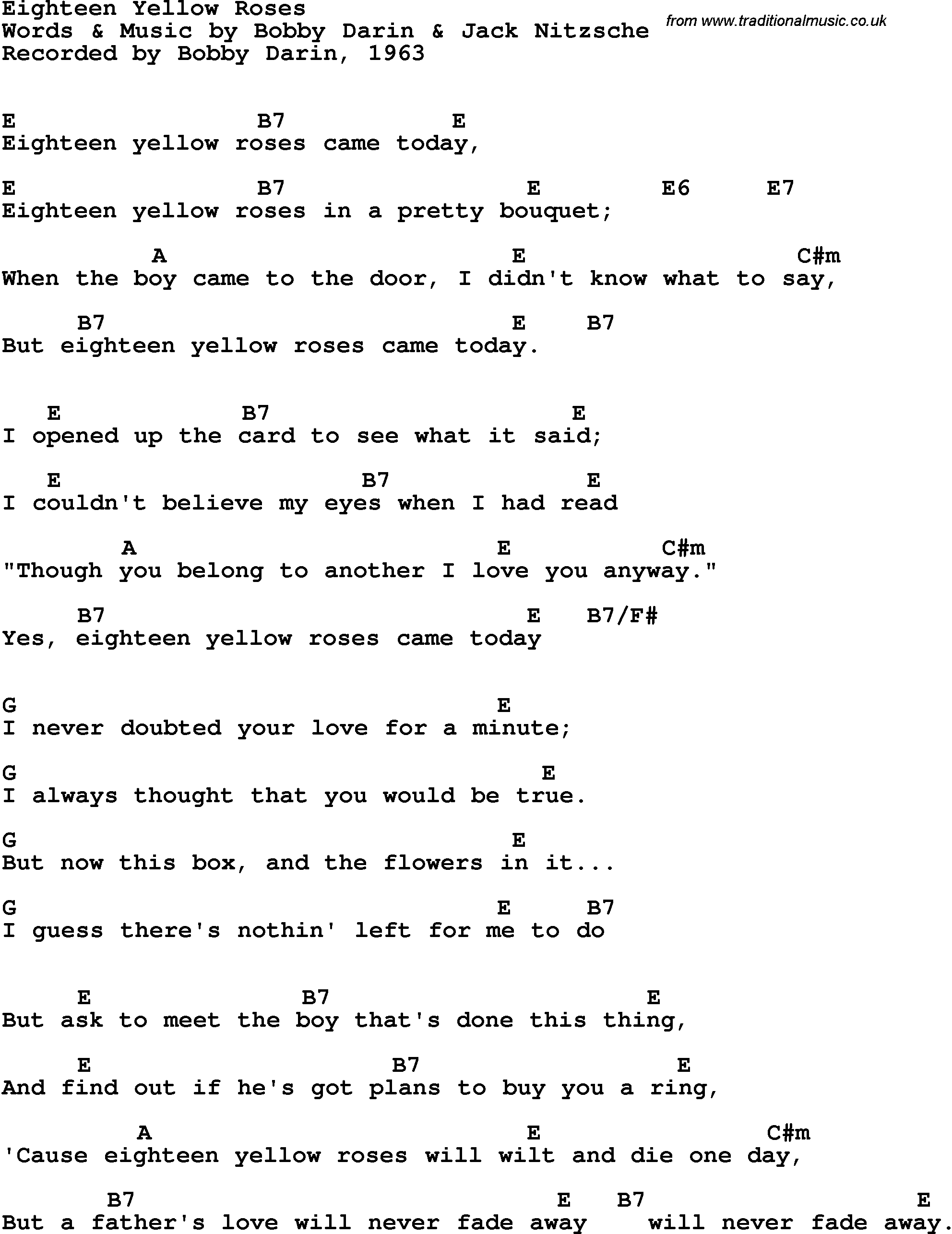 Song Lyrics With Guitar Chords For Eighteen Yellow Roses Bobby