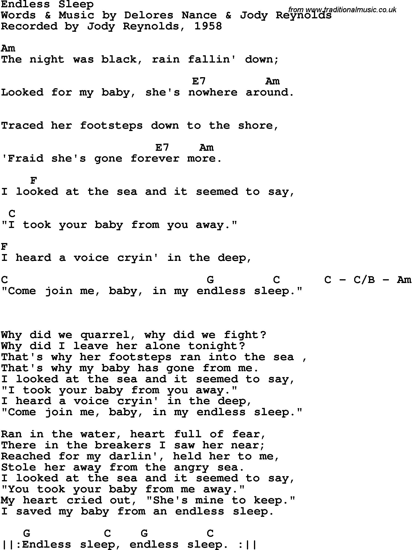 Song lyrics with guitar chords for endless sleep jody reynolds 1958 song lyrics with guitar chords for endless sleep jody reynolds 1958 hexwebz Choice Image
