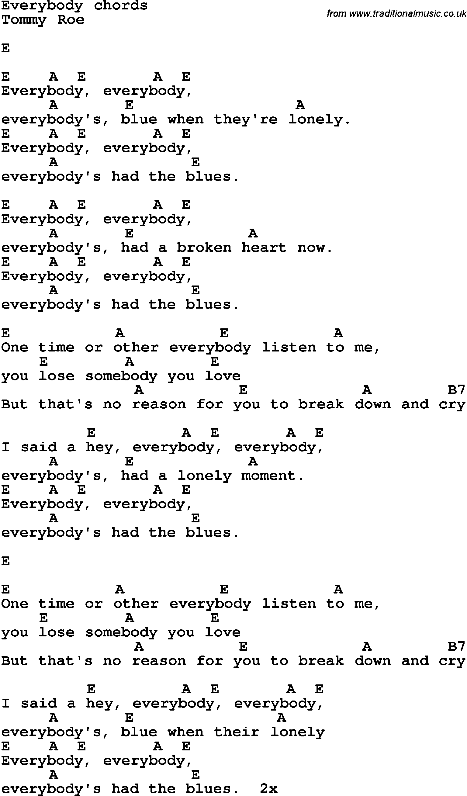 Song lyrics with guitar chords for Everybody