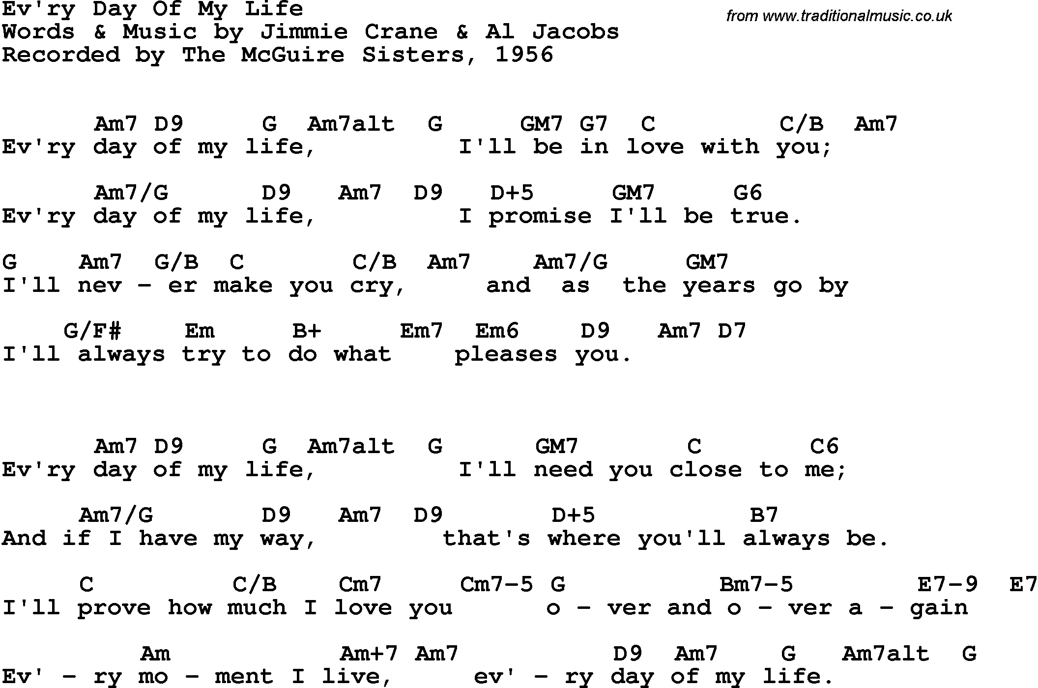 Song Lyrics With Guitar Chords For Evry Day Of My Life The