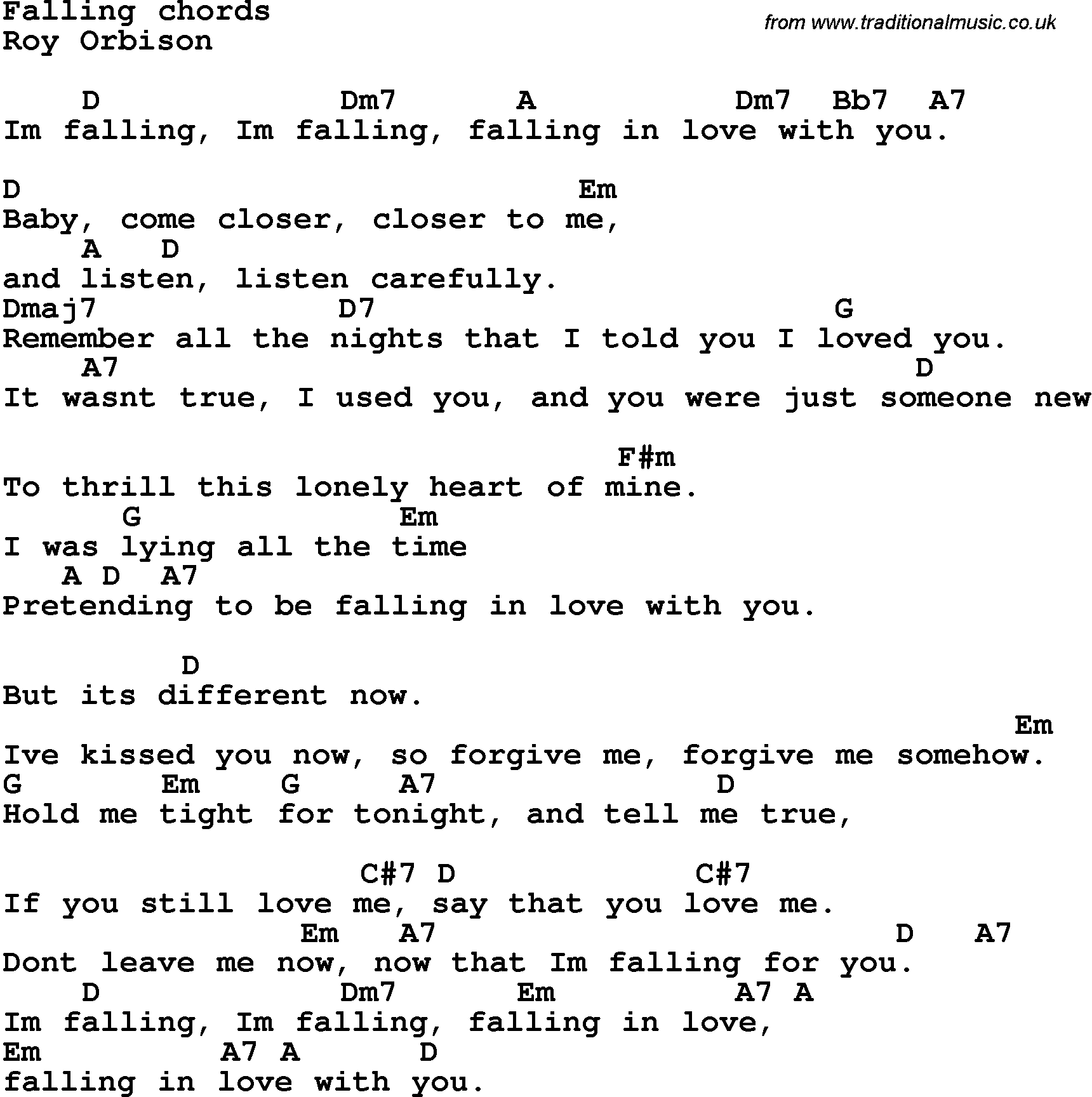 Song Lyrics With Guitar Chords For Falling