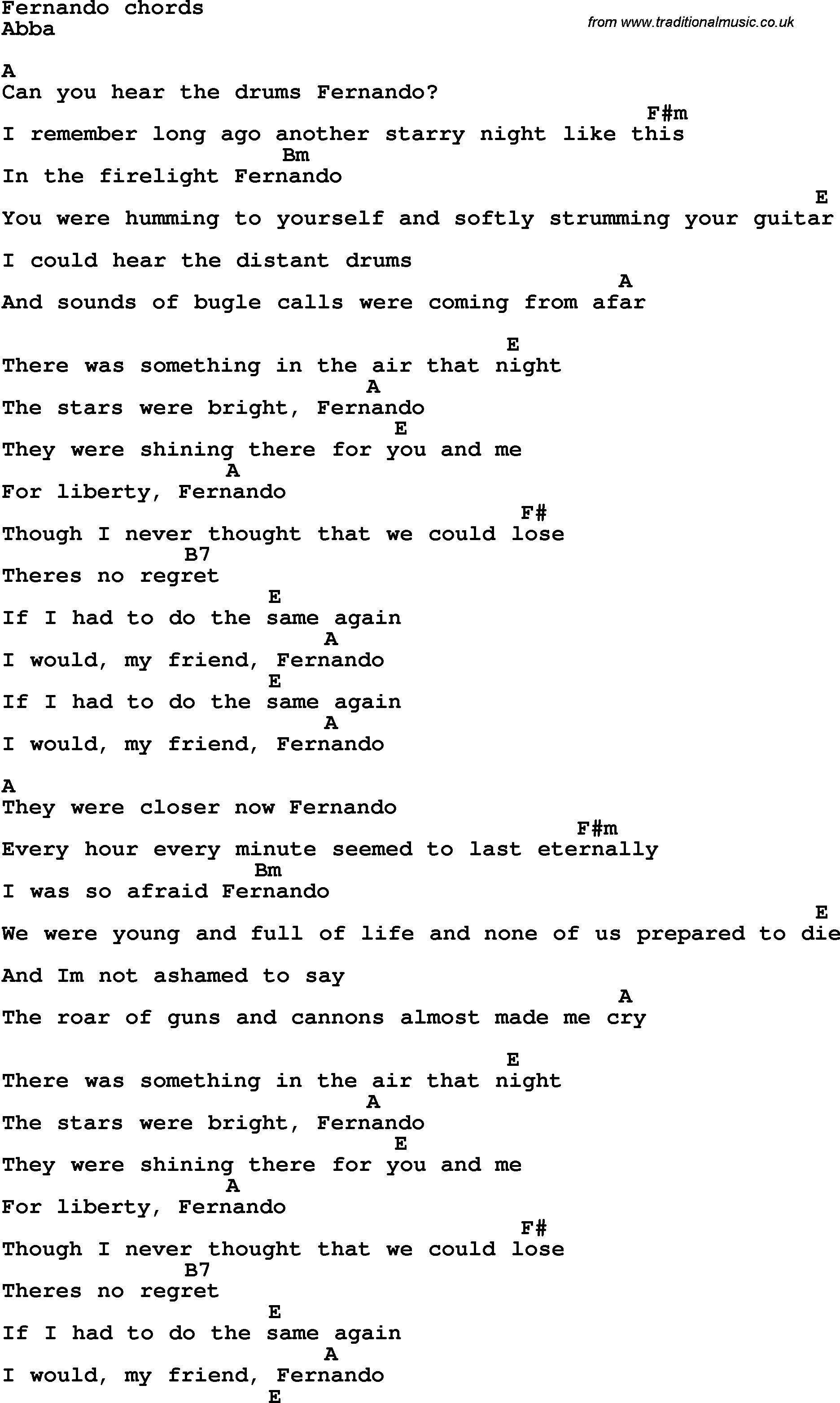 Song Lyrics With Guitar Chords For Fernando